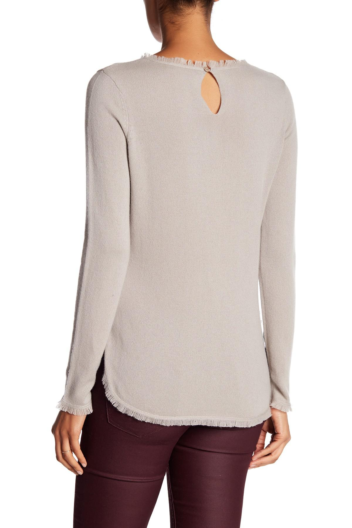 Lyst In Cashmere Frayed Edge Cashmere Sweater