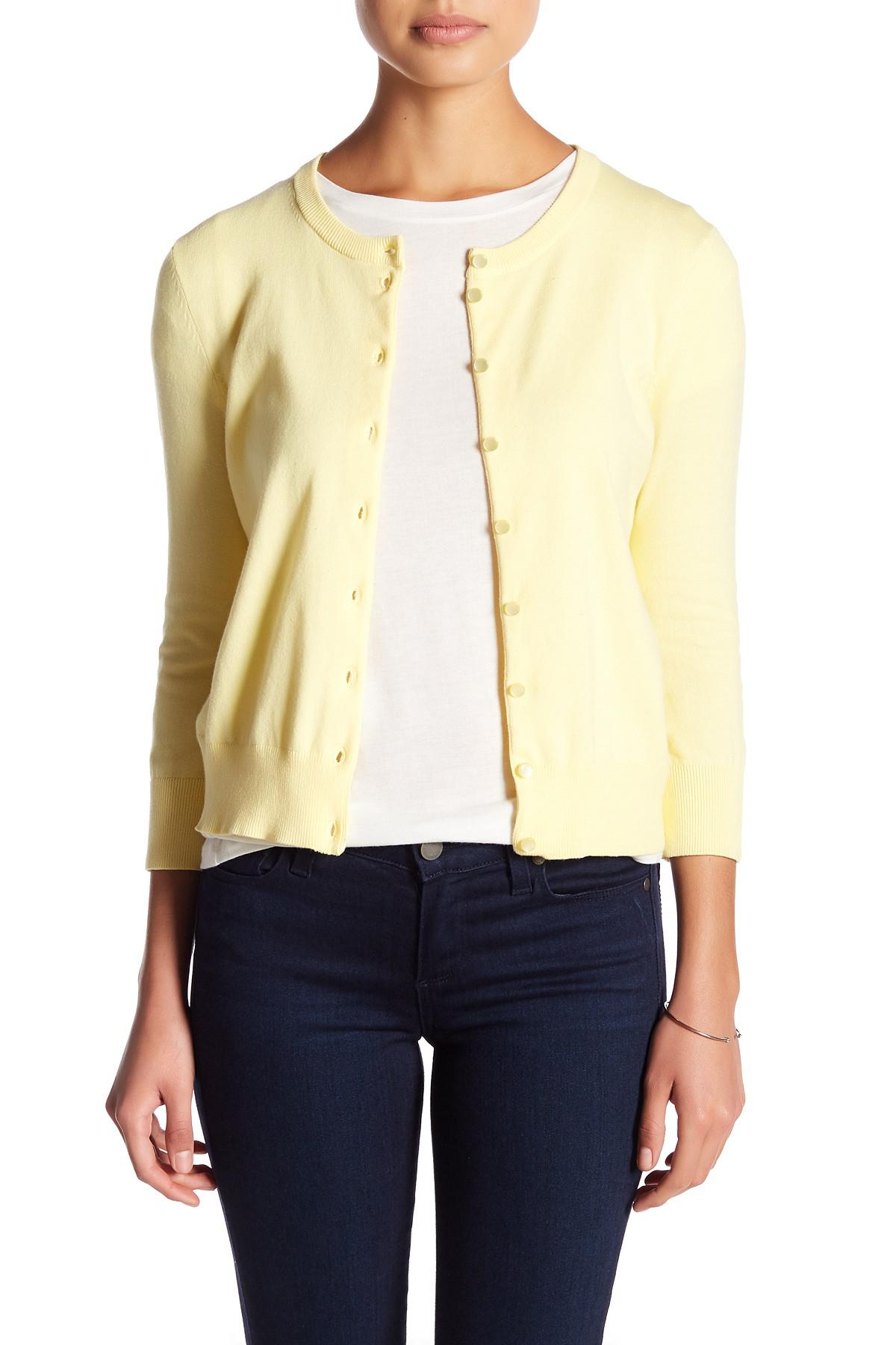 Cable & gauge Crew Cardigan (petite) in Yellow   Lyst