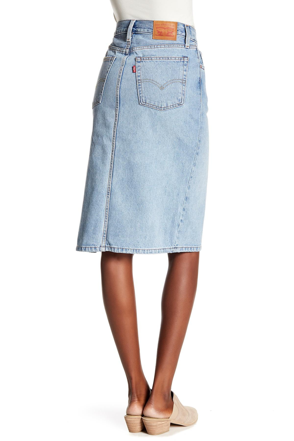 Lyst - Levi s Side Slit Skirt in Blue ca6eaa63e