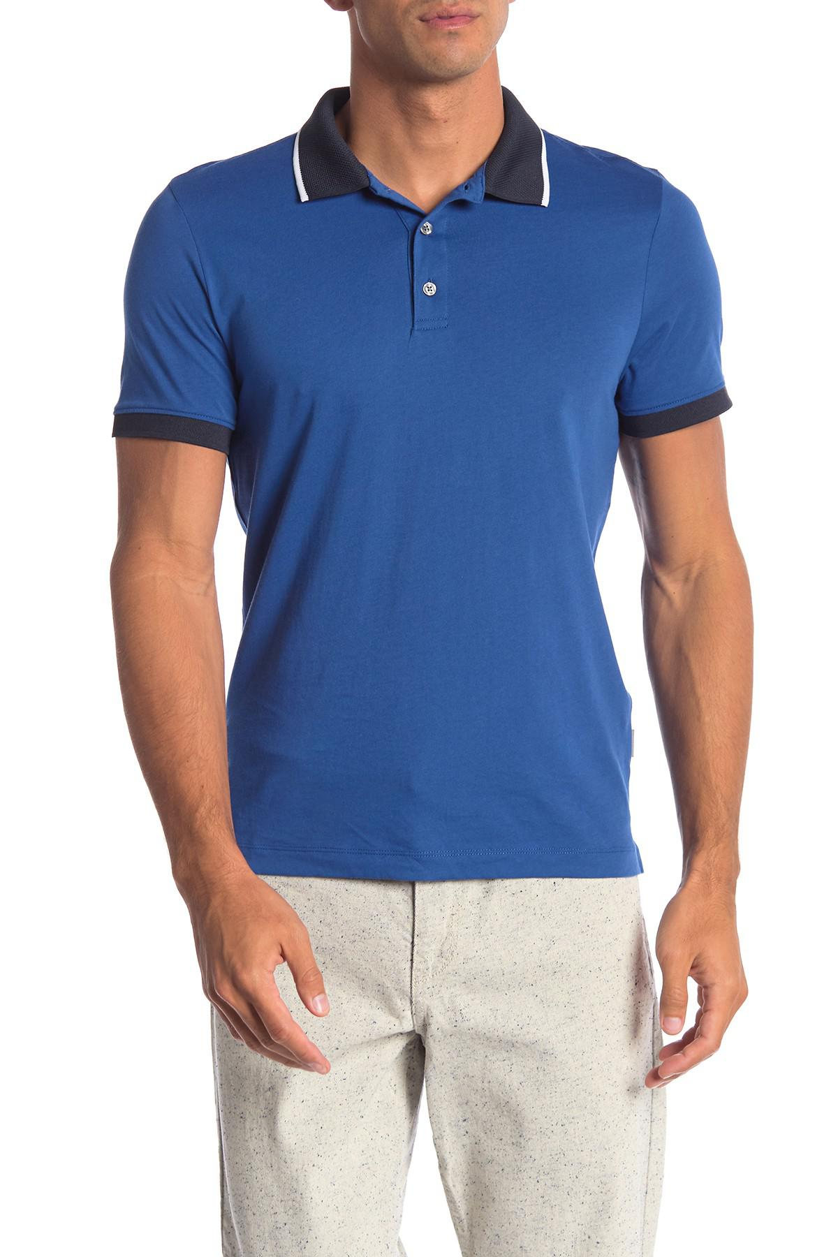 7ae8d4f01d Lyst - Perry Ellis Colorblock Short Sleeve Polo in Blue for Men ...