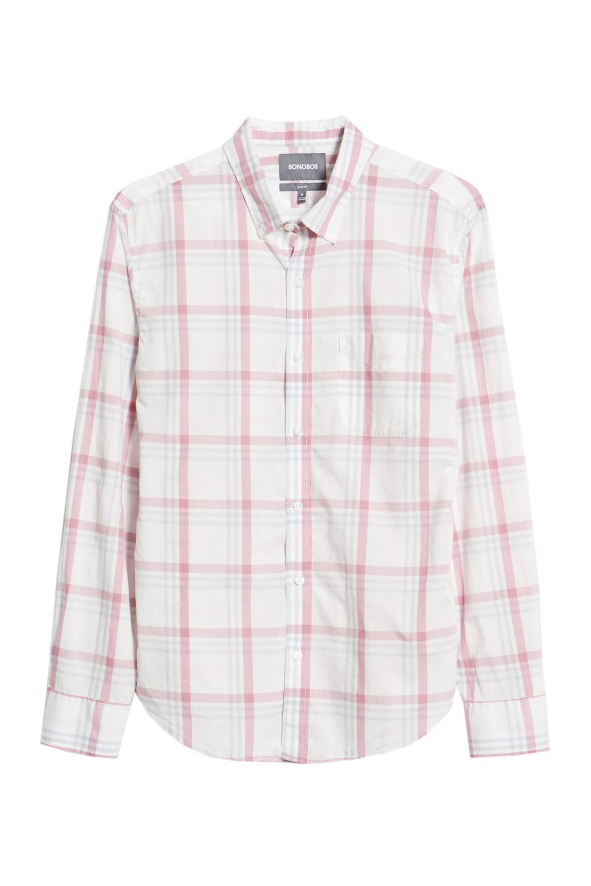 f36dfb332fd Lyst - Bonobos Summerweight Slim Fit Plaid Sport Shirt in Pink for Men