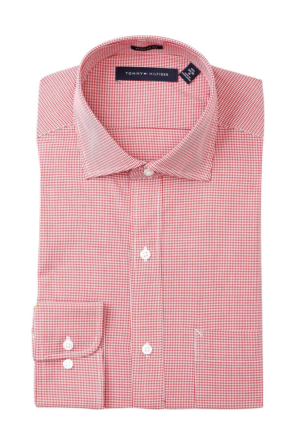 Lyst tommy hilfiger howard micro gingham regular fit for Tommy hilfiger gingham dress shirt