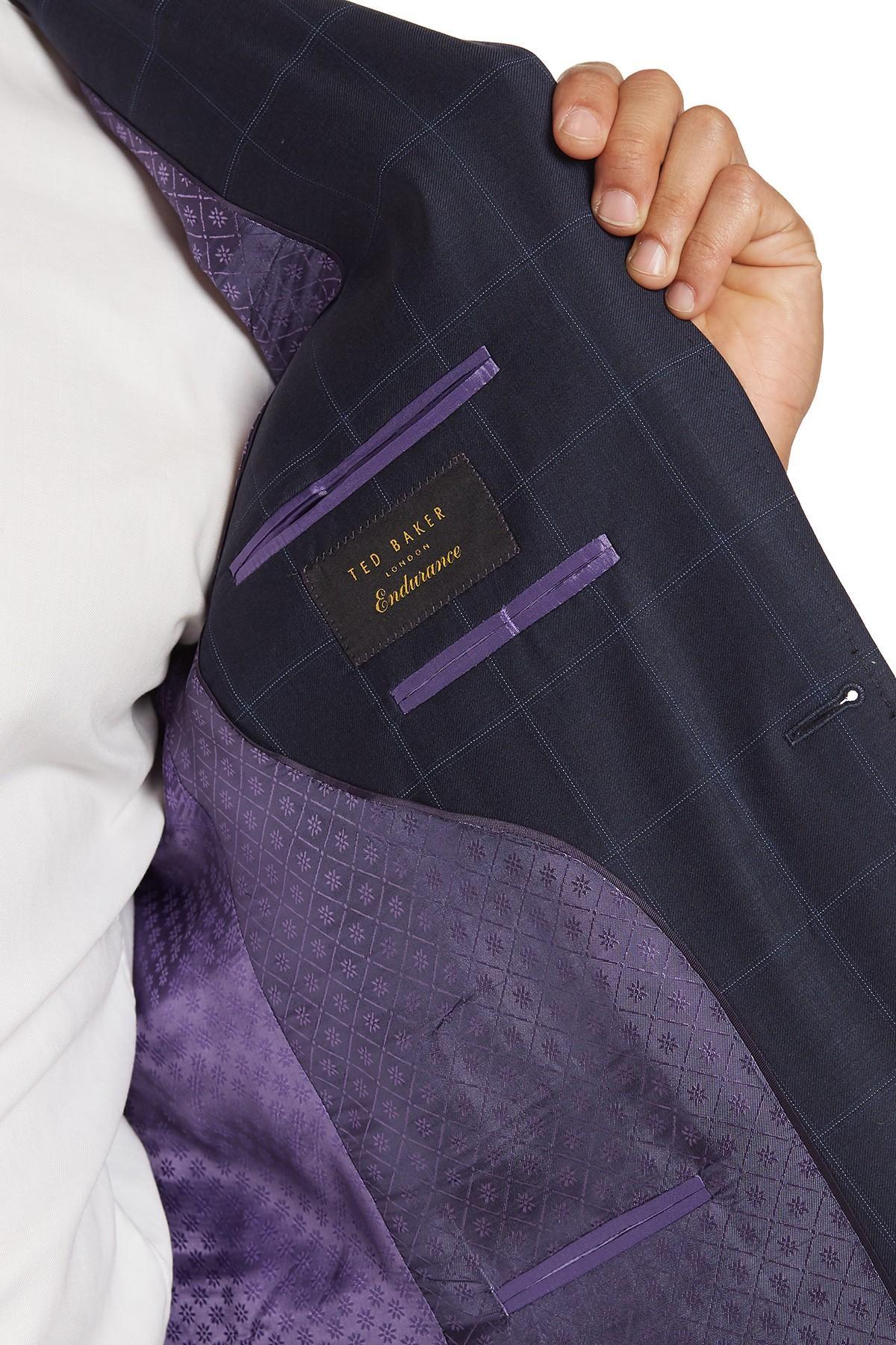 1c5d9e9db Ted Baker - Blue Jarrett Checkered Print Wool Blazer for Men - Lyst. View  fullscreen