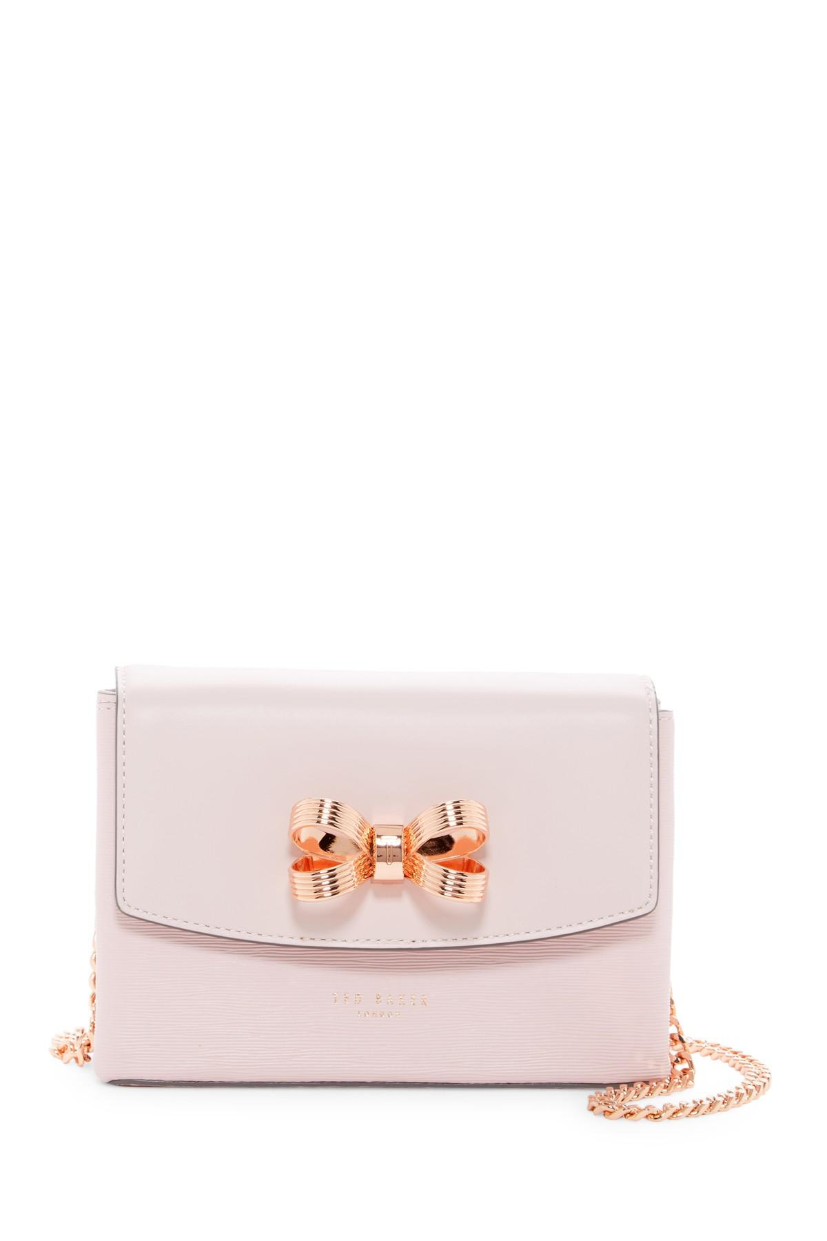 d6651870aeedf Lyst - Ted Baker Leorr Looped Bow Micro Leather Crossbody Bag in Pink
