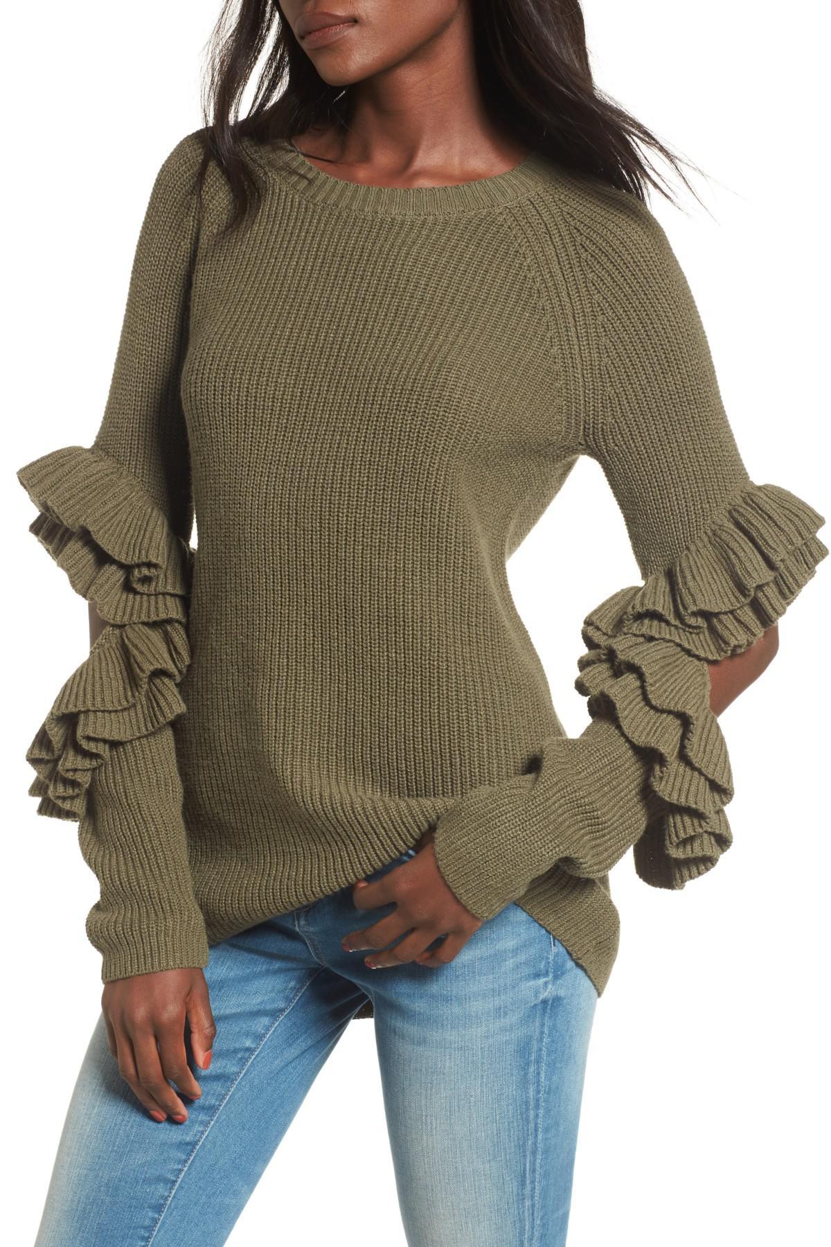 de1793dea5307f BP. Elbow Cutout Ruffle Sweater in Green - Lyst