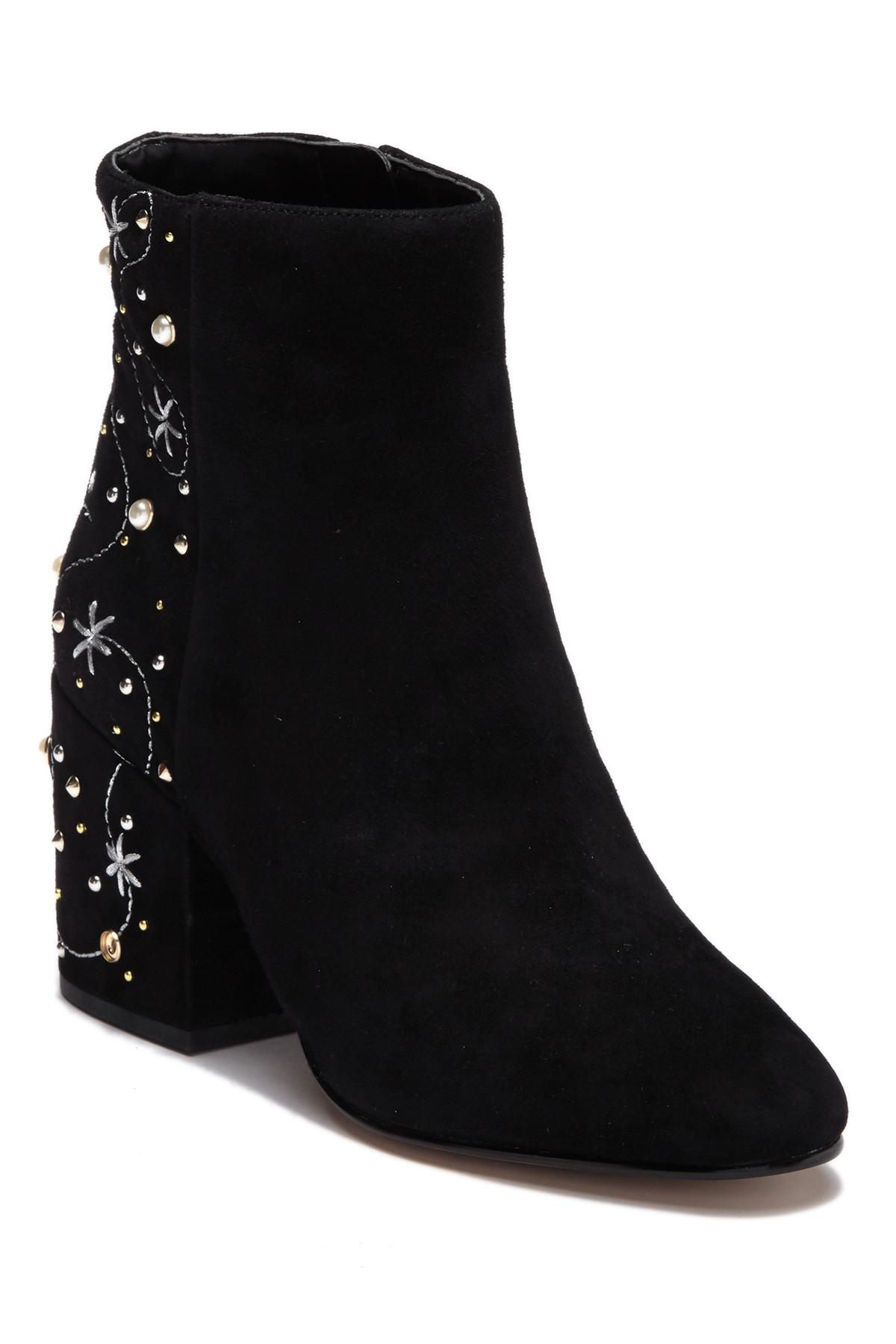 11a5c40708cb72 Lyst - Sam Edelman Taft Embroidered Faux Pearl Stud Boot in Black ...