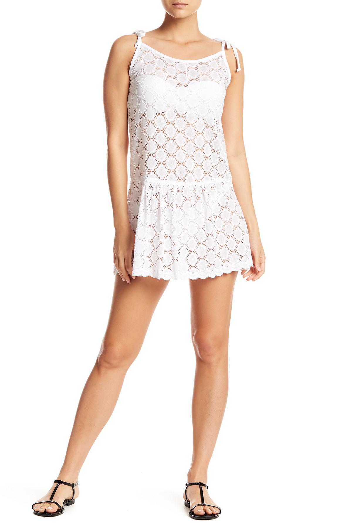 fdaa5d56f5 Lyst - J Valdi Drop Ruffle Tie Cover-up Dress in White