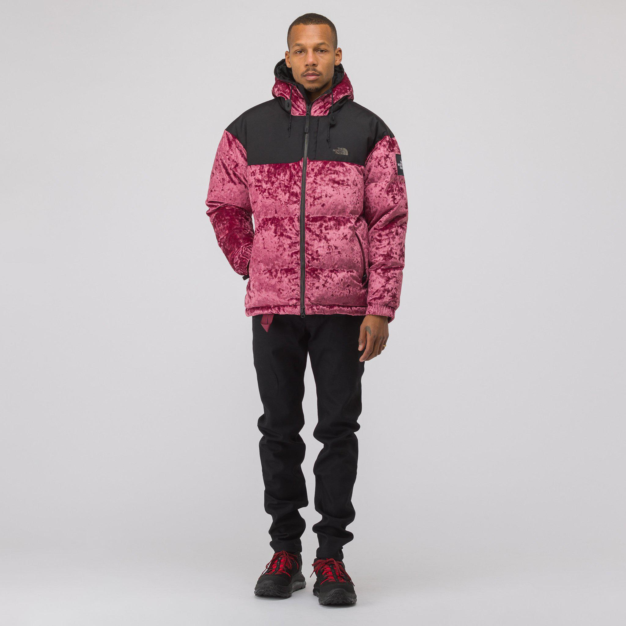 Lyst - The North Face Velvet Nuptse Jacket In Regal Red in Red for Men 719a4a266