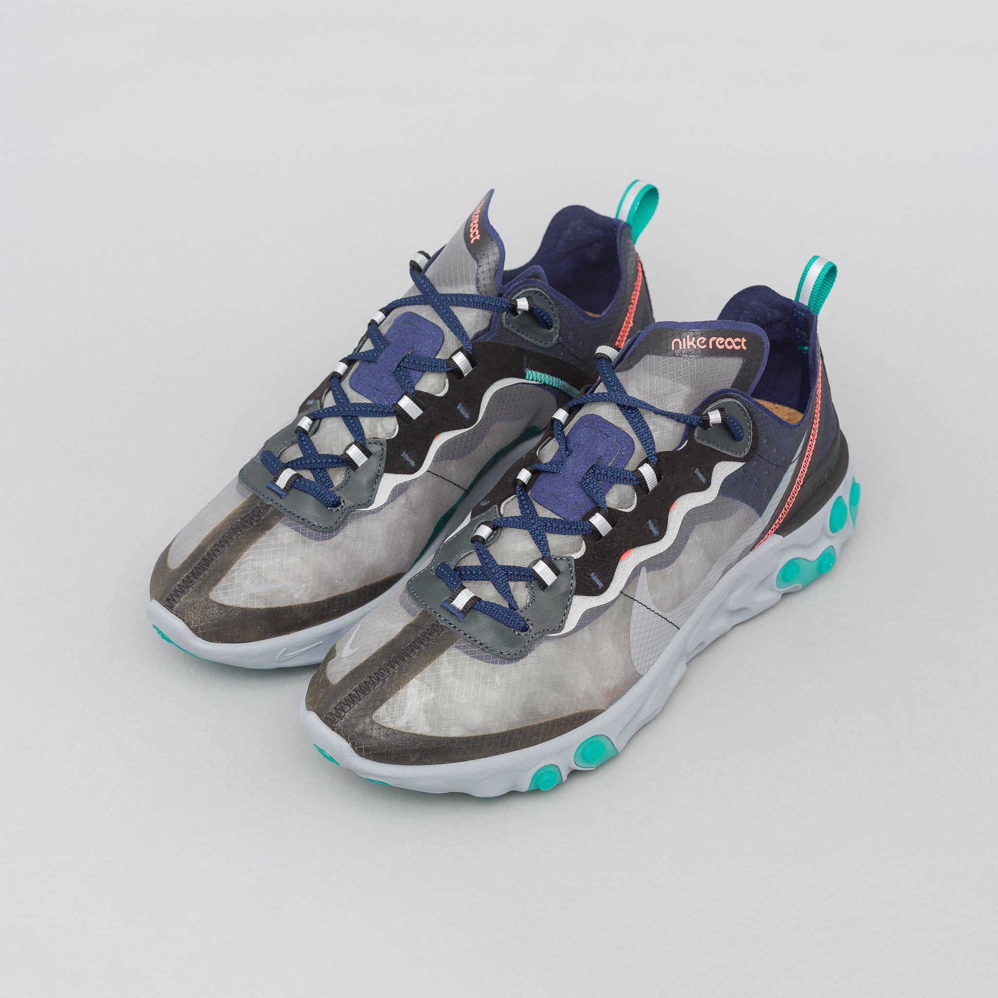 f26136df12f0 Lyst - Nike React Element 87 In Black midnight Navy neptune Green in ...
