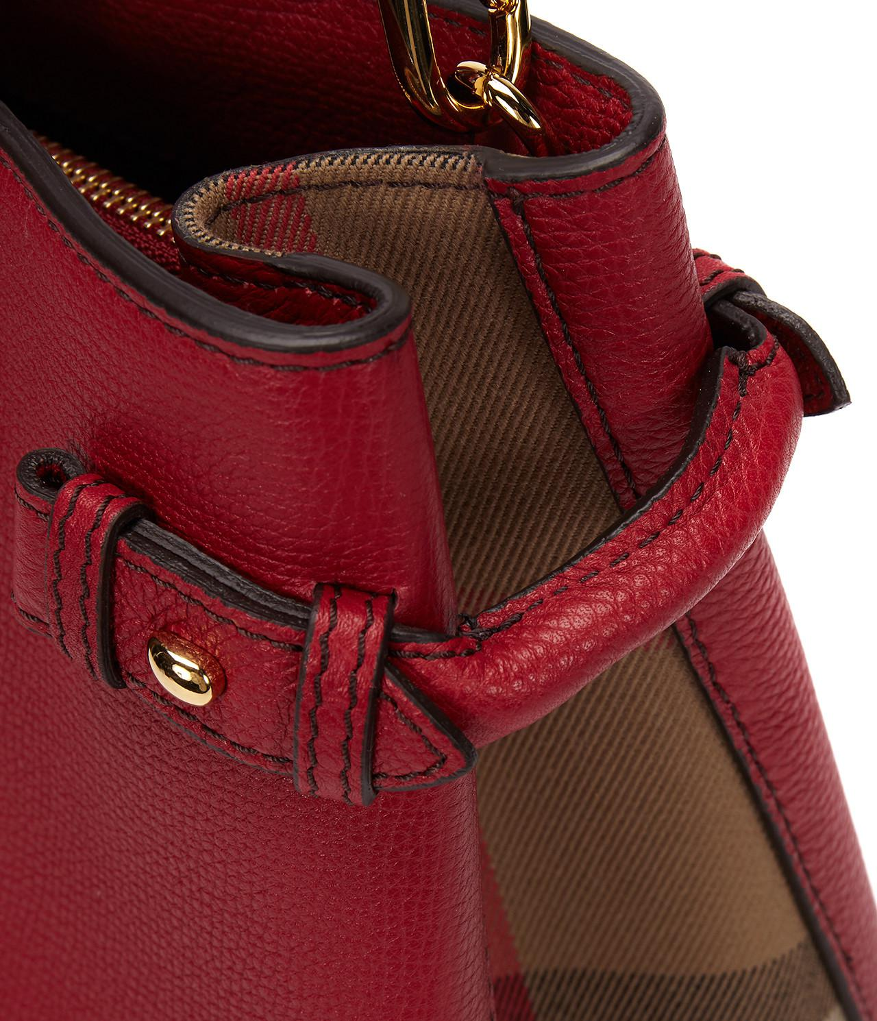 b49b585a4172 Burberry 17ss Women's House Check Medium Banner Bag Russet Red in ...