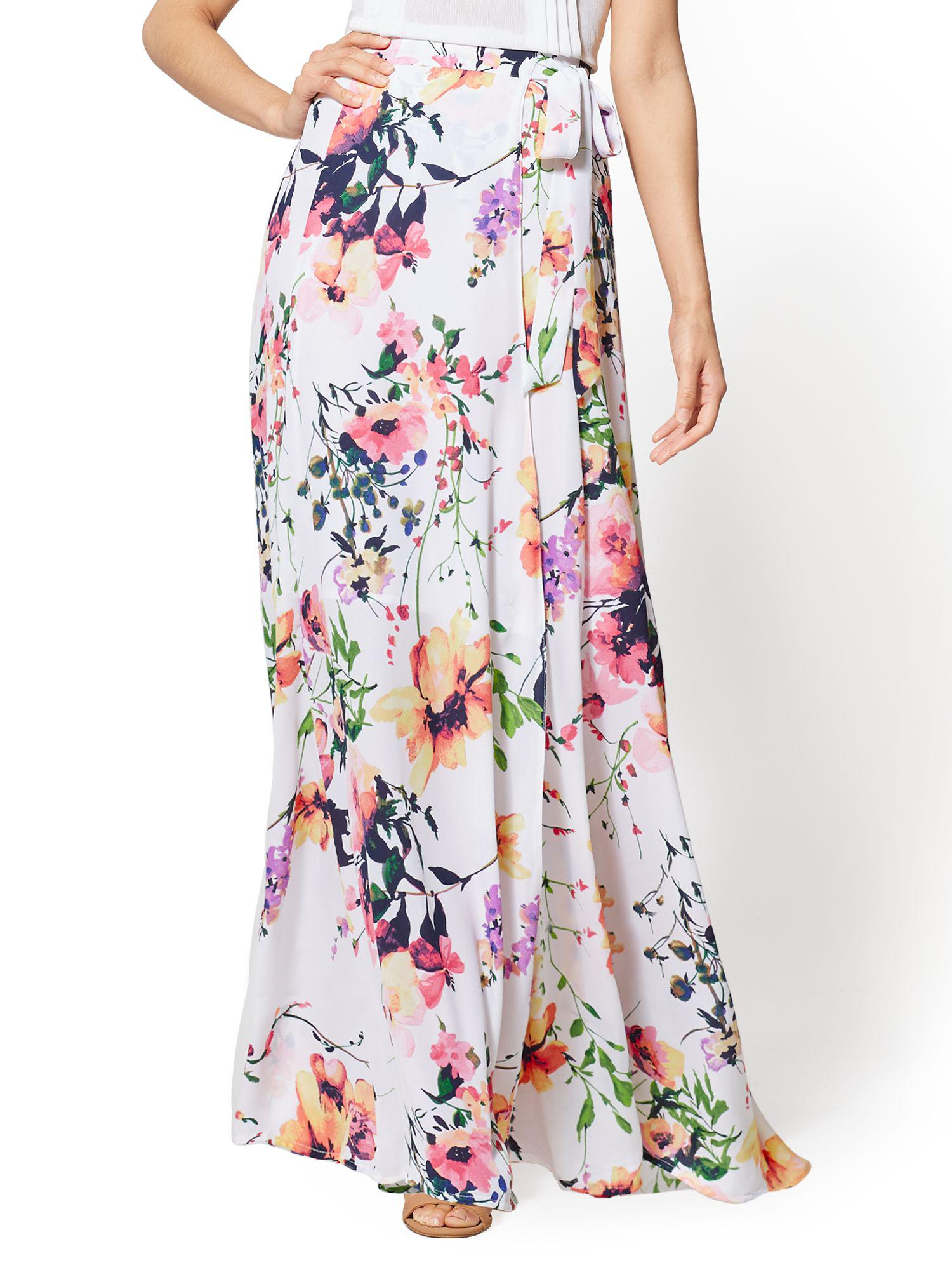 Lyst New York Company 7th Avenue Floral Maxi Skirt In White