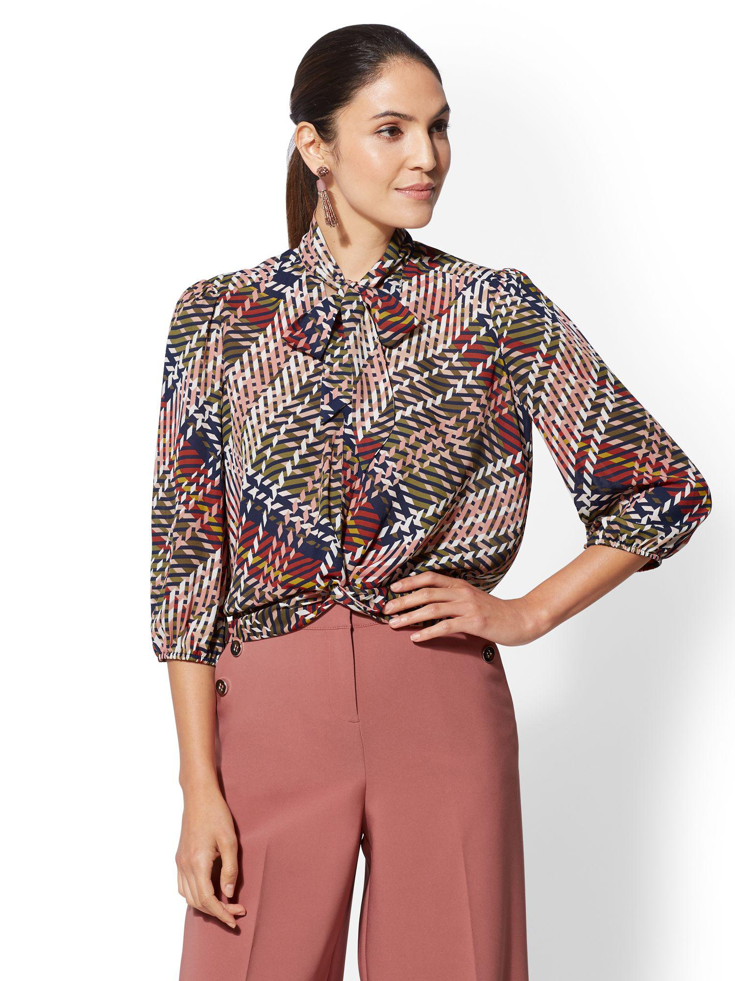 Lyst New York Company 7th Avenue Tall Twist Front Tie Neck Blouse