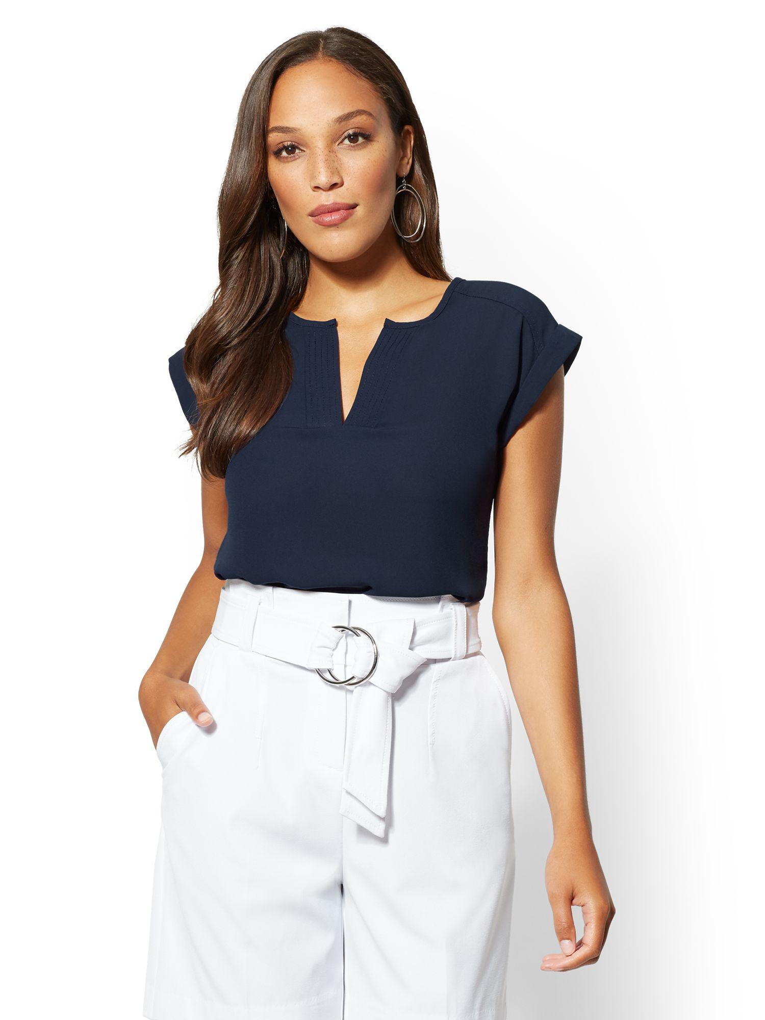 Lyst New York Company 7th Avenue Tall Split Neck Blouse In Blue