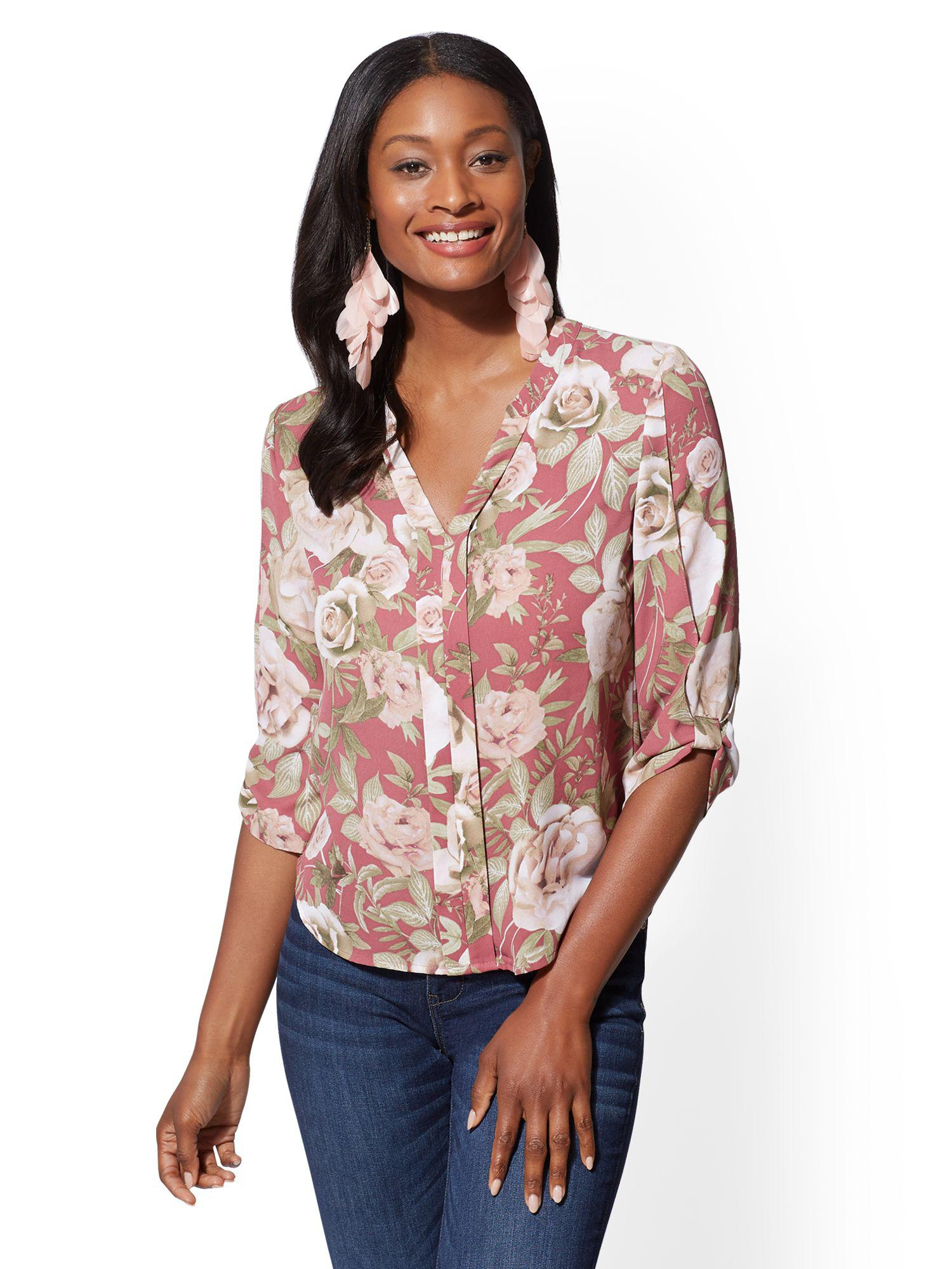Lyst New York Company Soho Soft Shirt Floral Split Neck Blouse