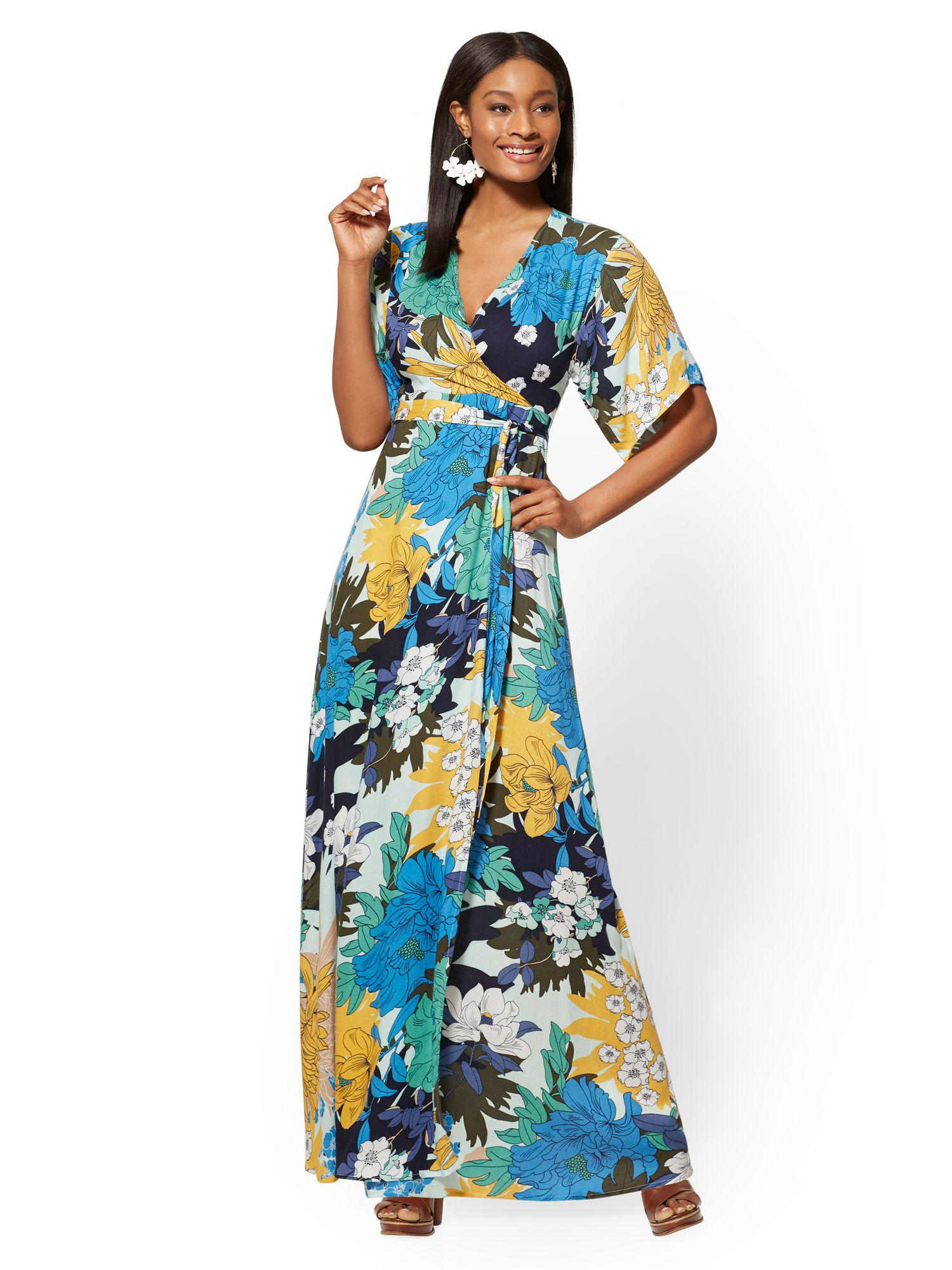 Lyst New York Company Floral V Neck Wrap Maxi Dress In Green