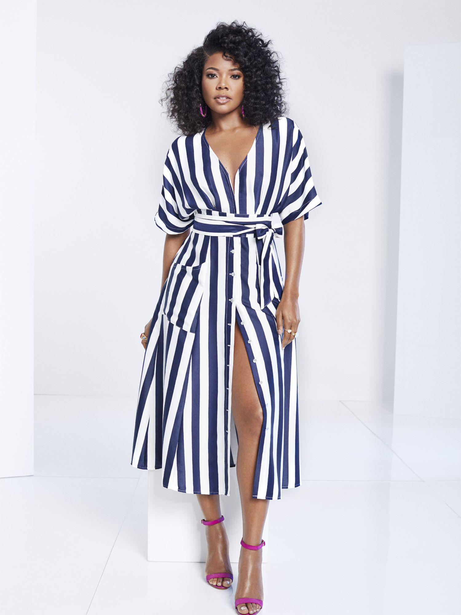a04e527c0b9d Lyst - New York   Company Striped Kimono Midi Dress - Gabrielle ...