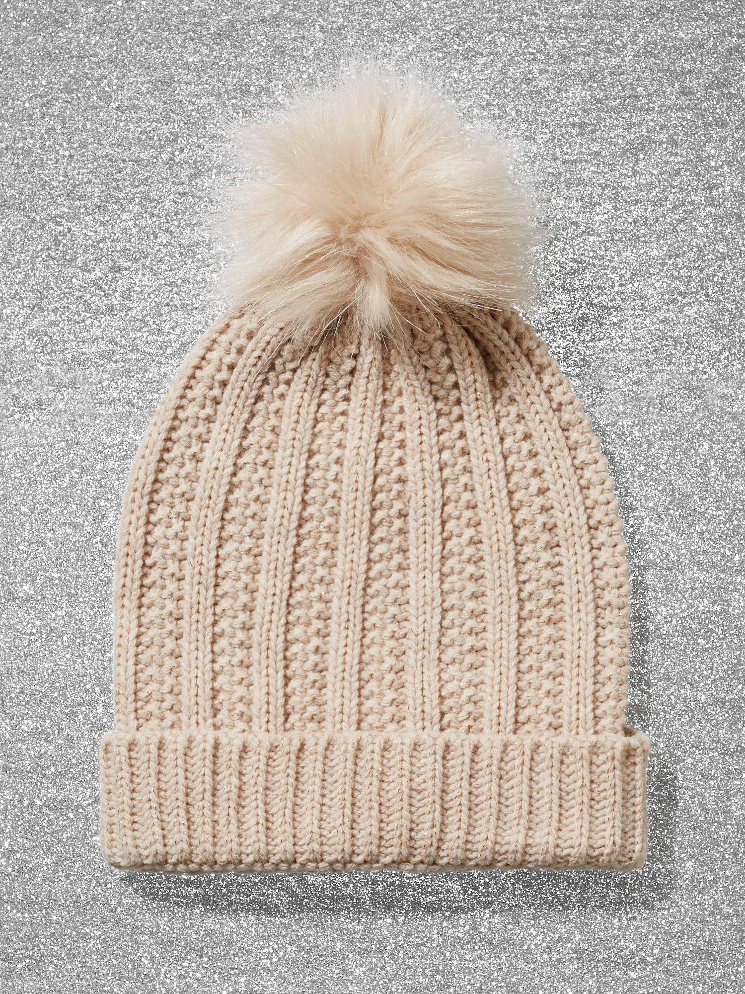d44c546c2 Lyst - New York & Company Metallic Pom-pom Trim Ribbed-knit Hat in ...
