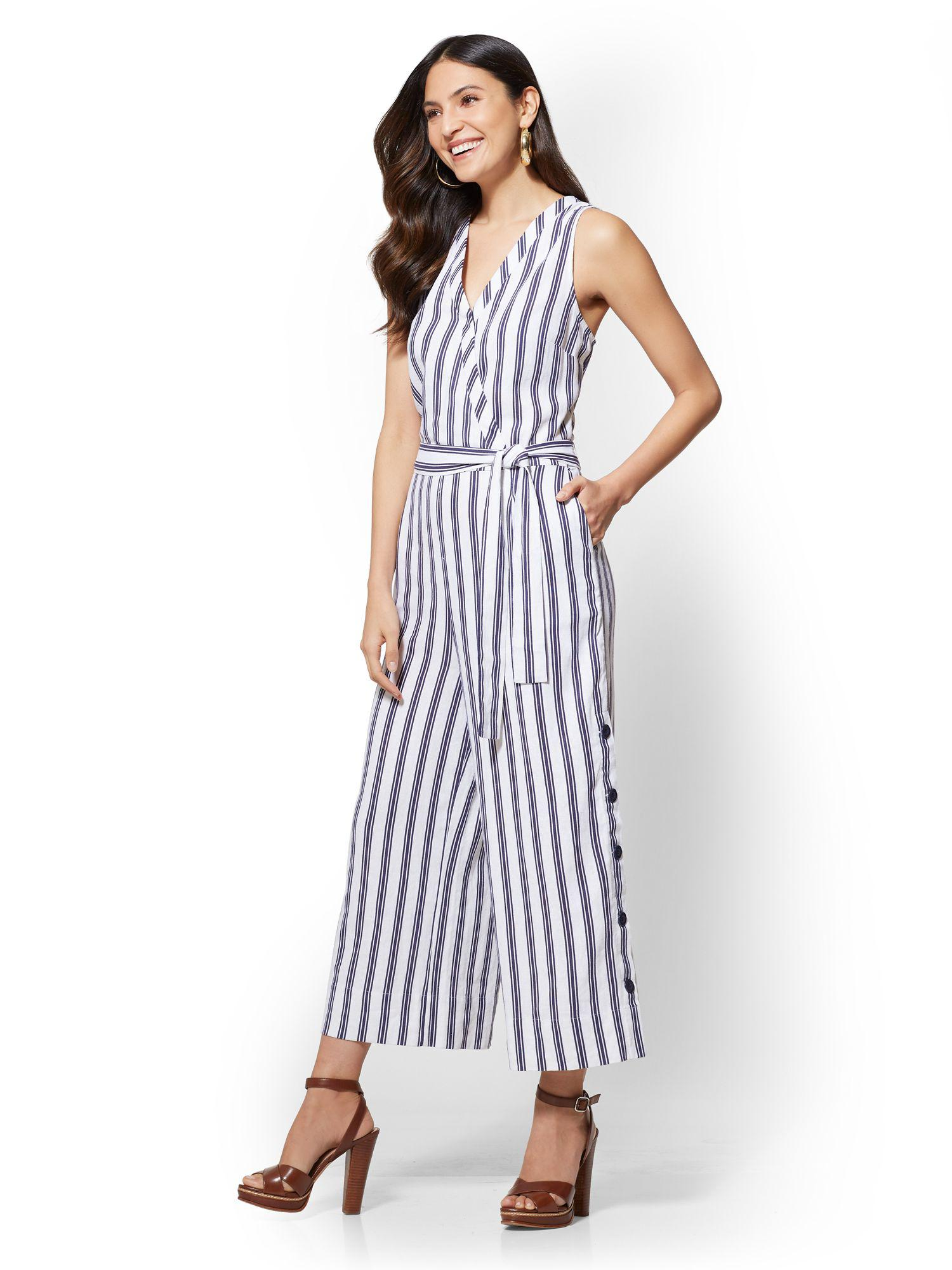 eea86471b59 Lyst - New York   Company Striped Linen Culotte Wrap Jumpsuit in White