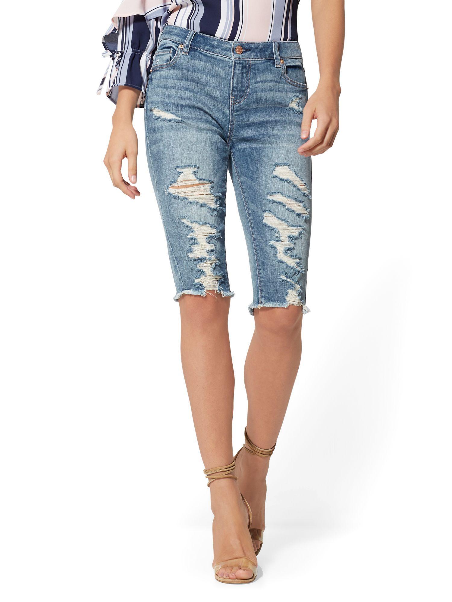 65fdbb5778 New York   Company. Women s Destroyed 14 Inch Bowery Bermuda Short - Boogie  Blue - Soho Jeans