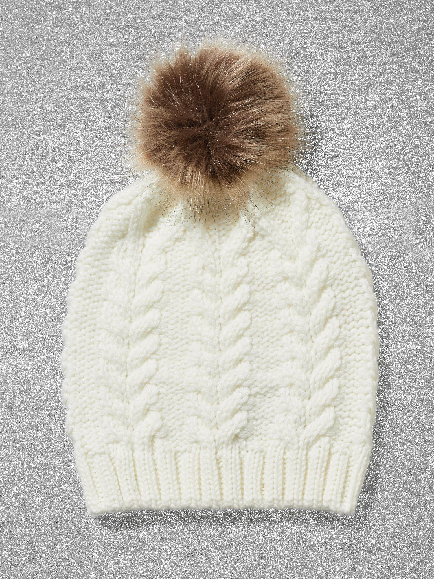 95d37e6d132 Lyst - New York   Company Faux-fur Pom-pom Cable-knit Hat in White