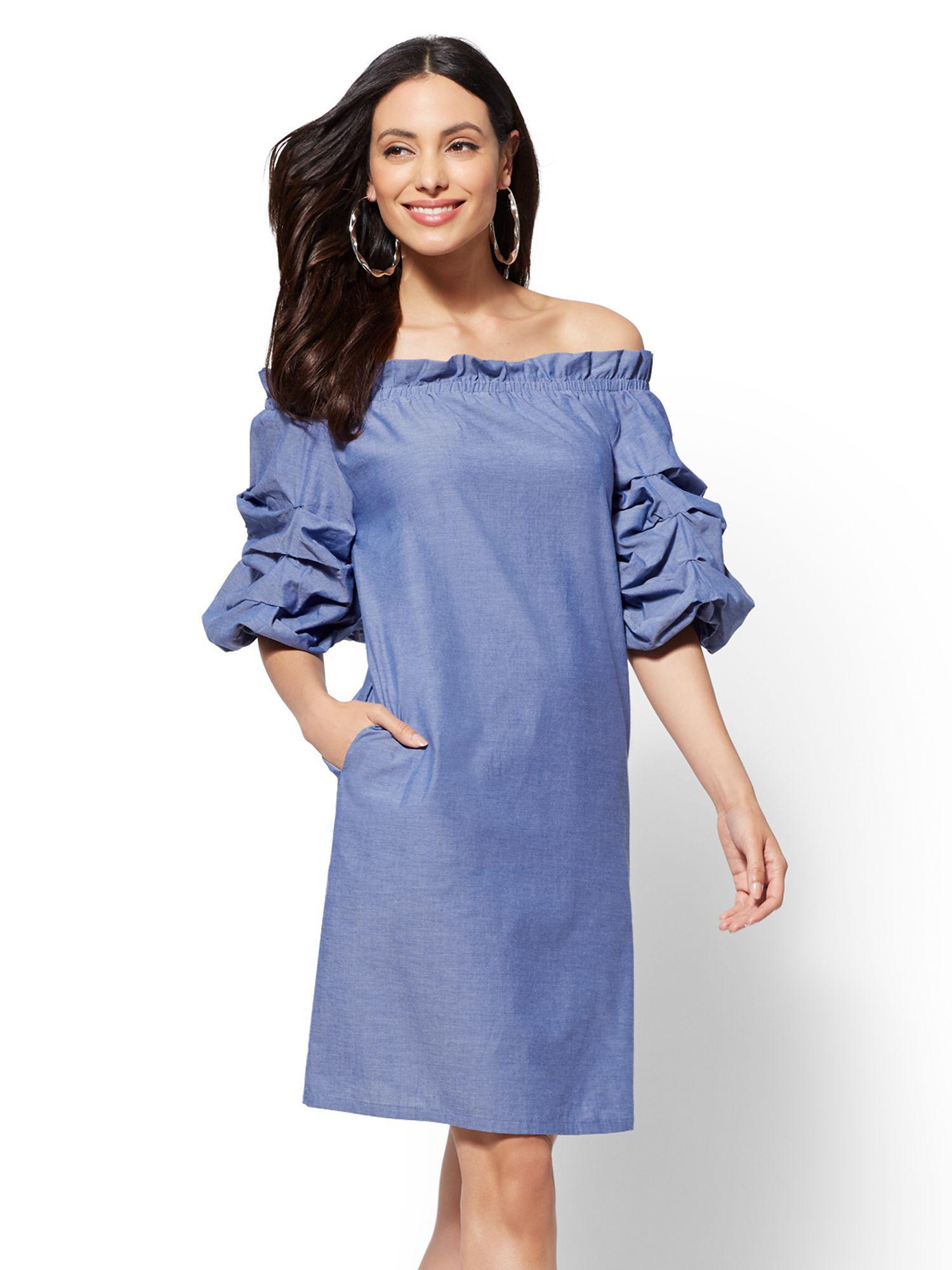 f54b5f8d56c0 Lyst - New York   Company Ruched-sleeve Off-the-shoulder Shift Dress ...