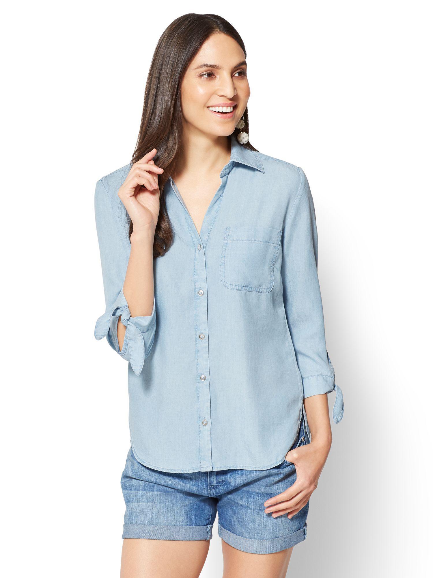 b4e4530b084 New York   Company Soho Soft Shirt - Ultra-soft Chambray in Blue - Lyst