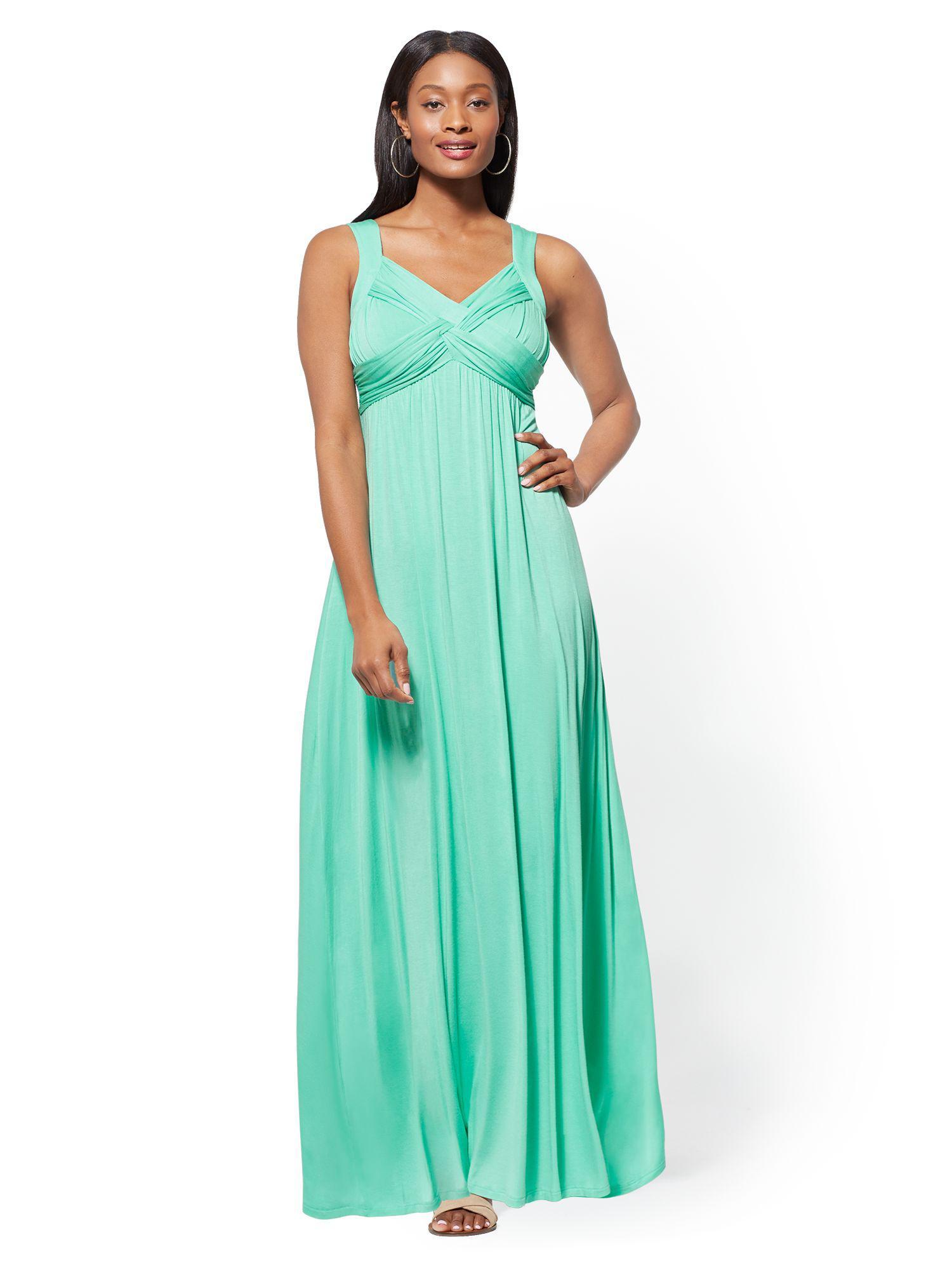 5ef37977d6 New York & Company Goddess Crossover Maxi Dress in Green - Lyst