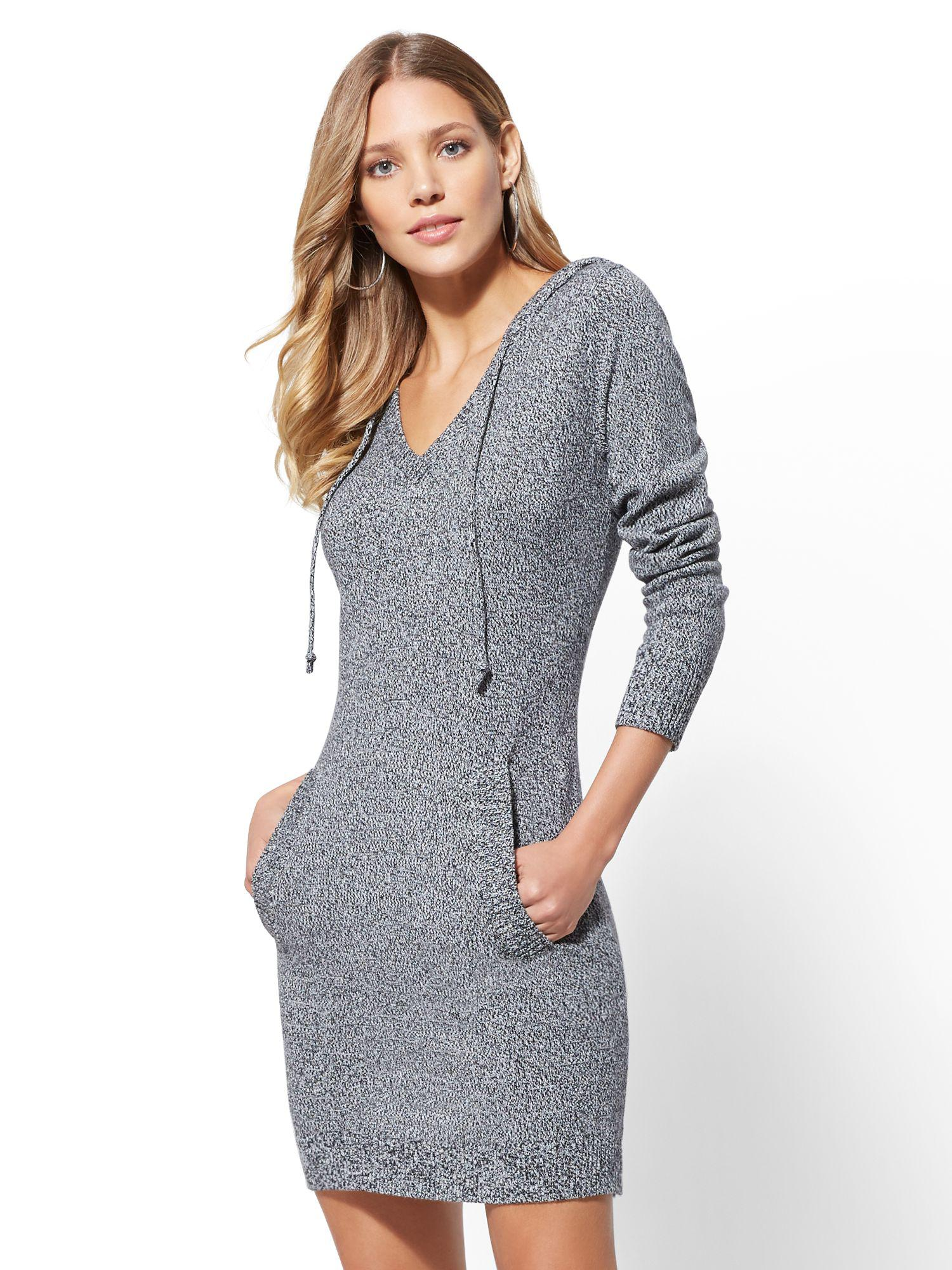 28588ef7855 New York   Company Soho Street - Marled Hooded Sweater Dress - Lyst