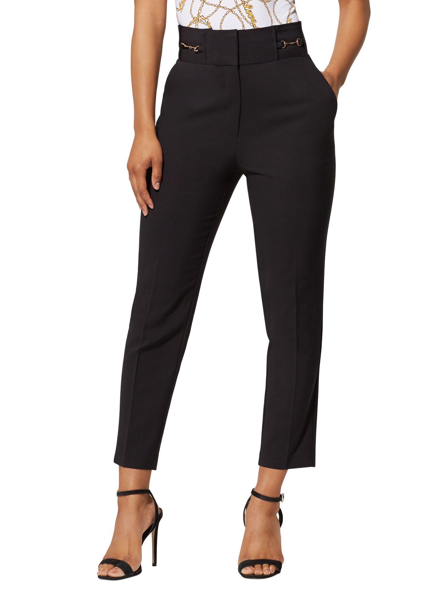 7df02e8b4c1fb7 New York & Company. Women's Black Hardware-accent Ankle Pant - All-season  Stretch - 7th Avenue
