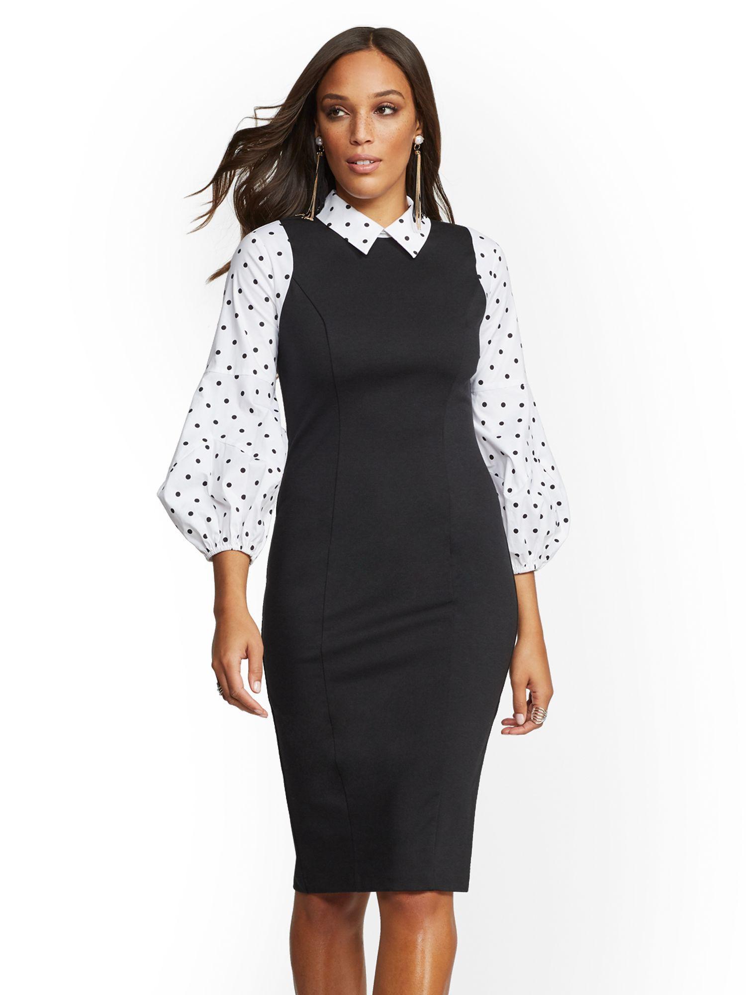 0779ff3a Lyst - New York & Company 7th Avenue - Black Twofer Sheath Dress in ...