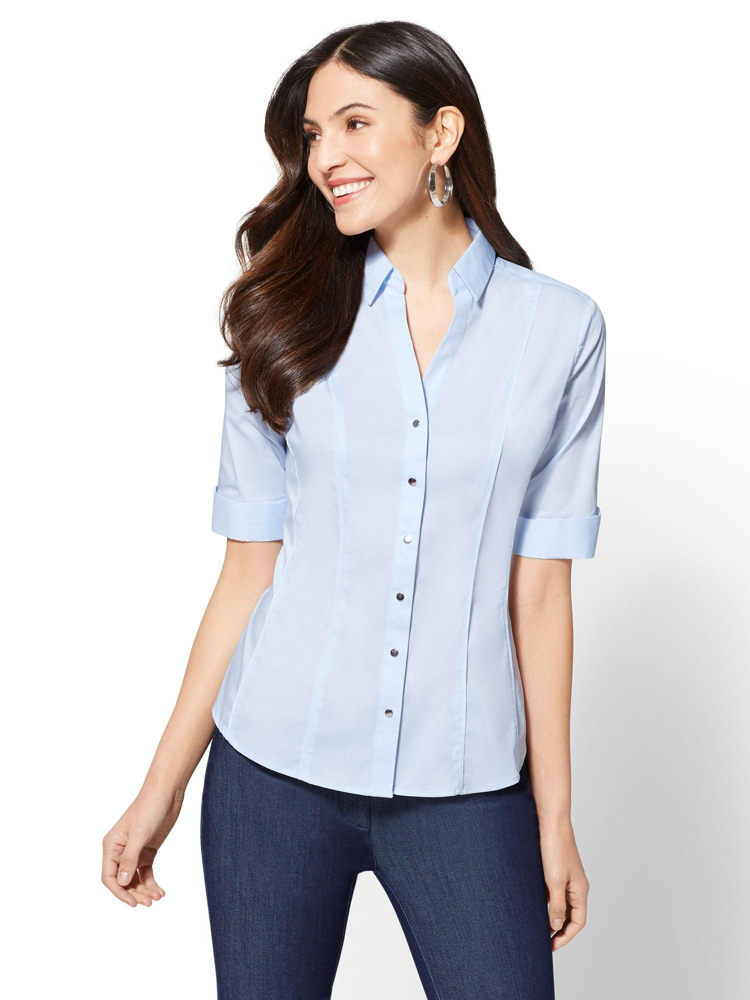 cf09a007544bd Lyst - New York   Company 7th Avenue - Piped Elbow Sleeve Madison ...
