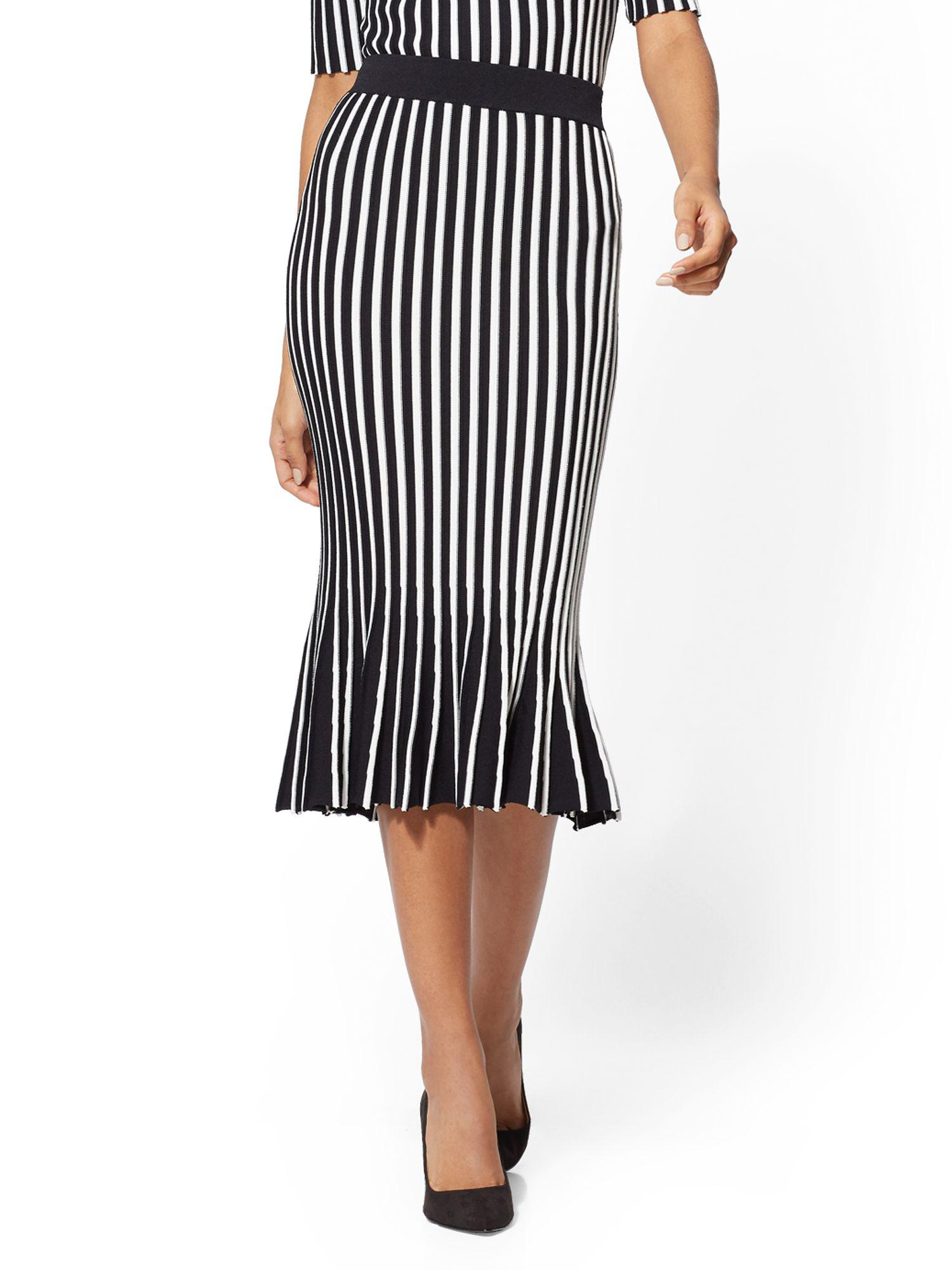 a9bfbbbf6c New York & Company 7th Avenue - Stripe Pleated Sweater Skirt in ...