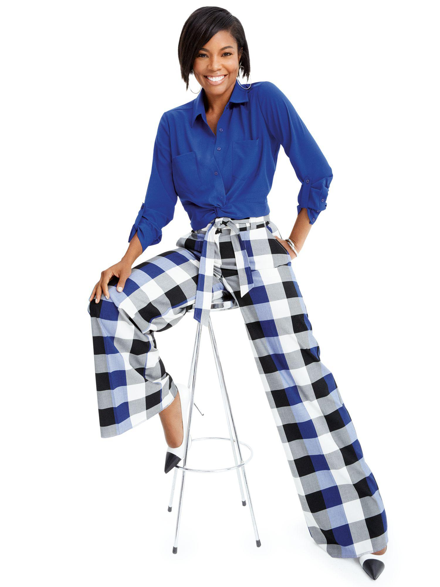 ad0d36f0f5d Lyst - New York   Company Gabrielle Union Collection - Blue Plaid ...