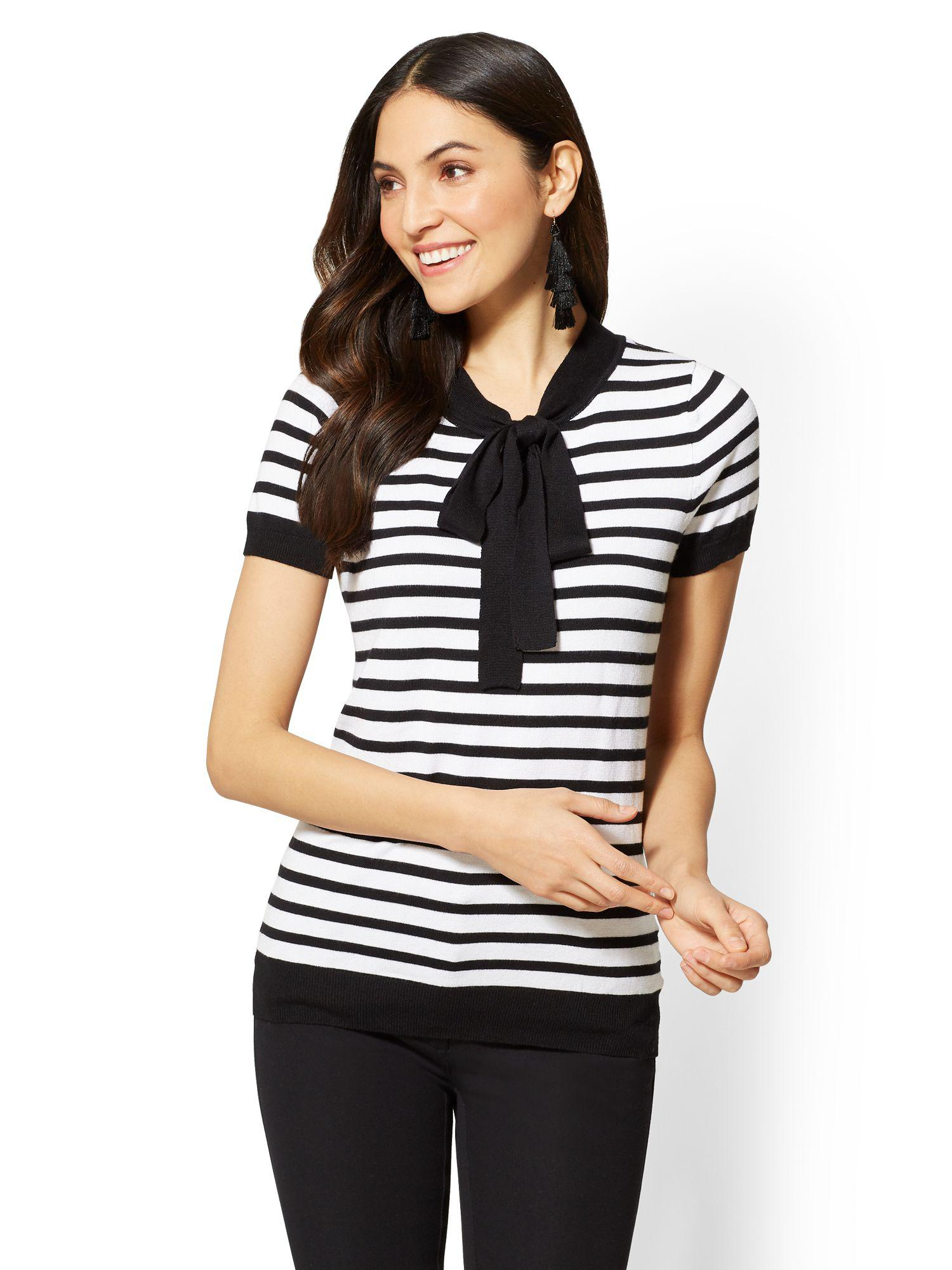 0301d404527 Lyst - New York   Company 7th Avenue - Bow-detail Sweater - Stripe ...