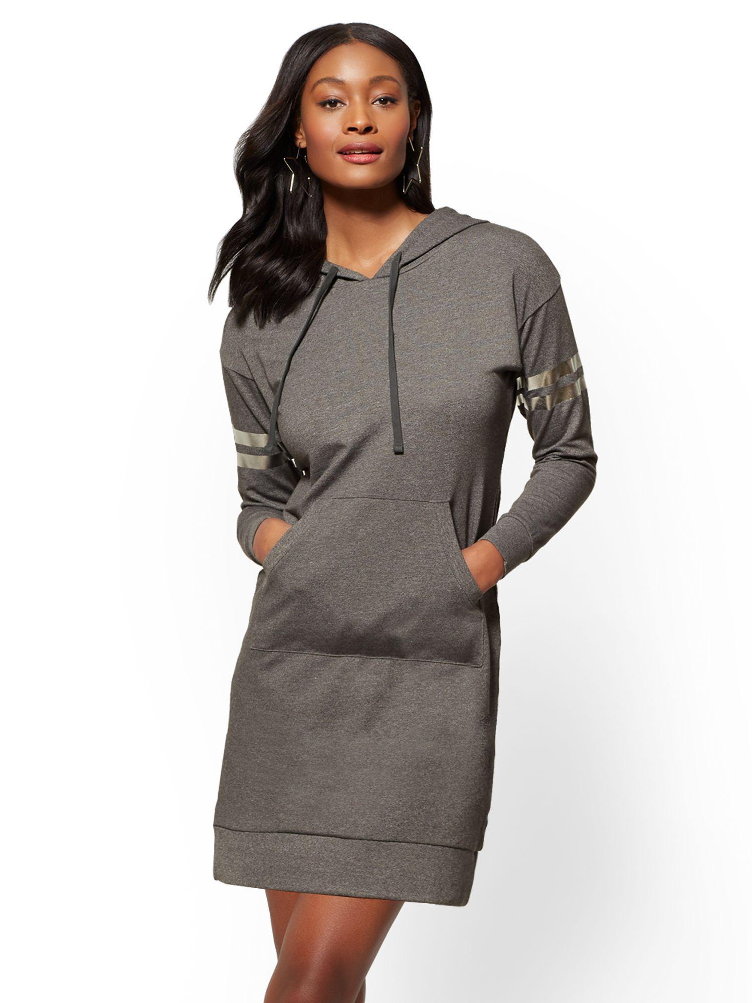 0ac60e7d294f4 New York & Company Soho Street - Metallic-foil Stripe Hooded ...