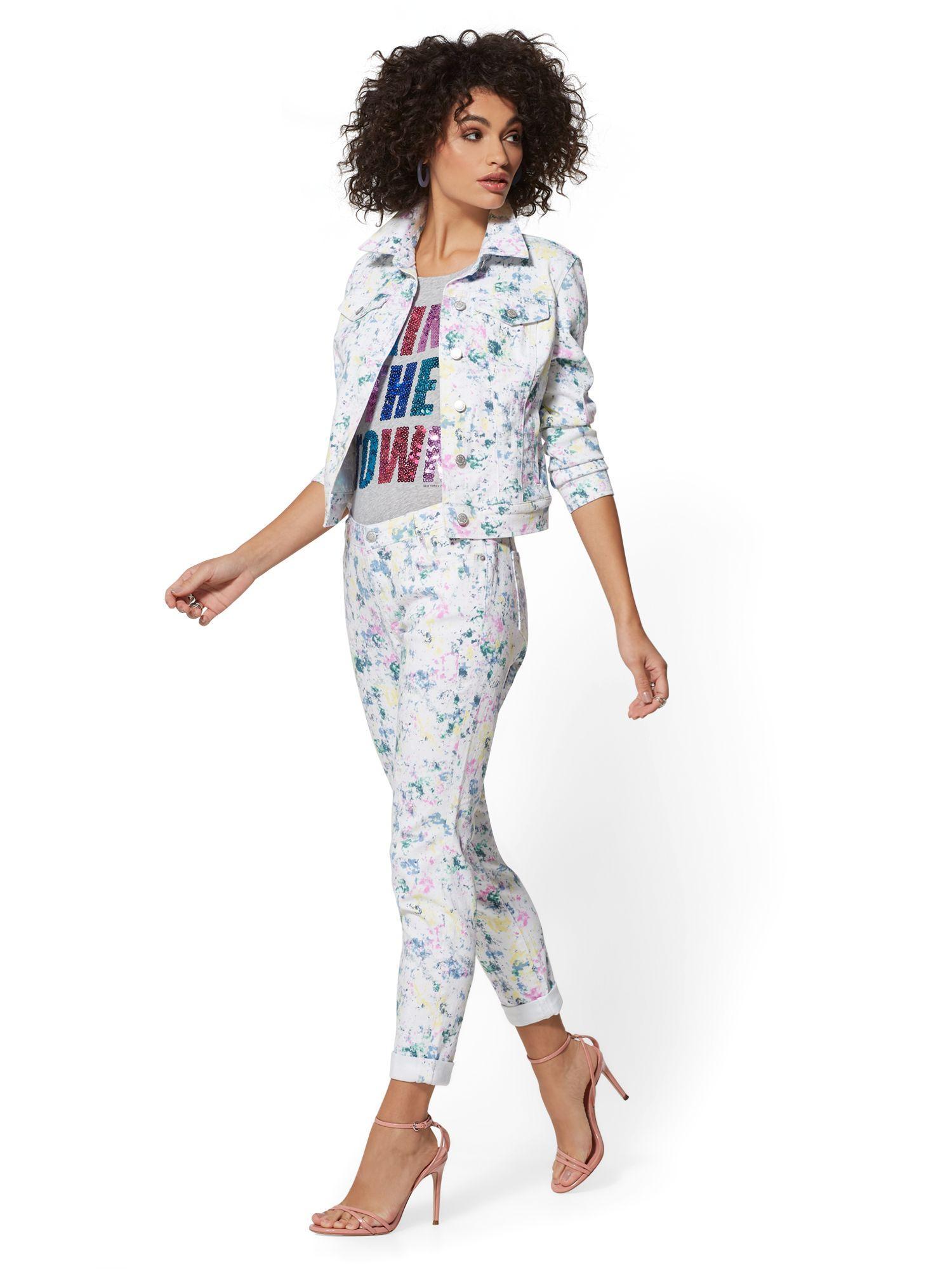 New York & Company Paint Splatter Boyfriend Jeans