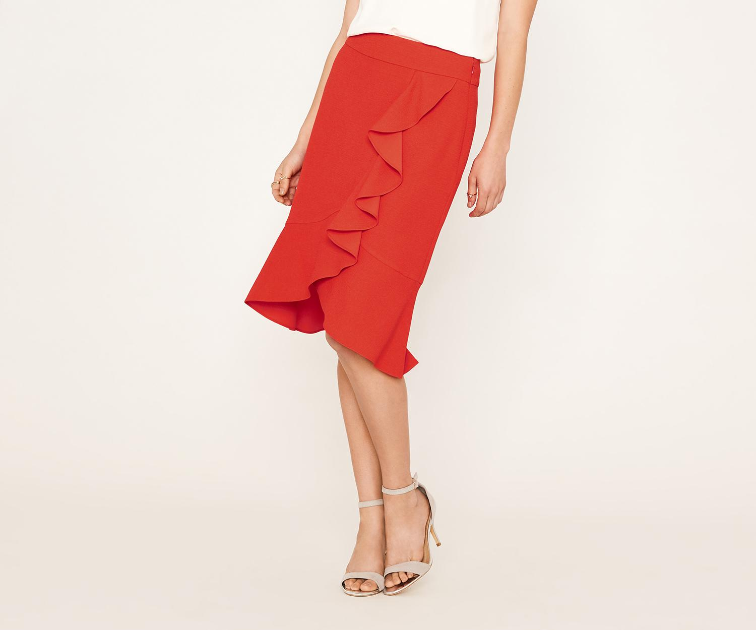 fd4c08865 Lyst - Oasis Frill Wrap Skirt in Red