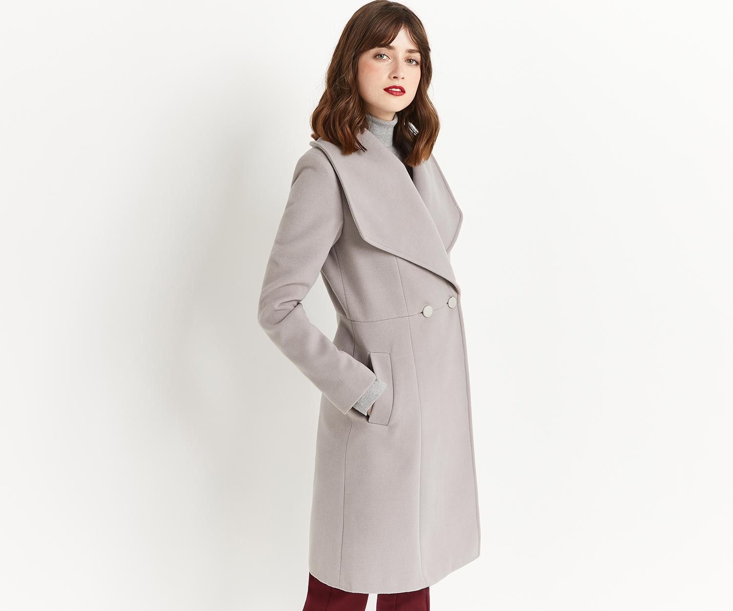 8bc27ad76875 Oasis Lily Premium Skater Coat in Gray - Lyst