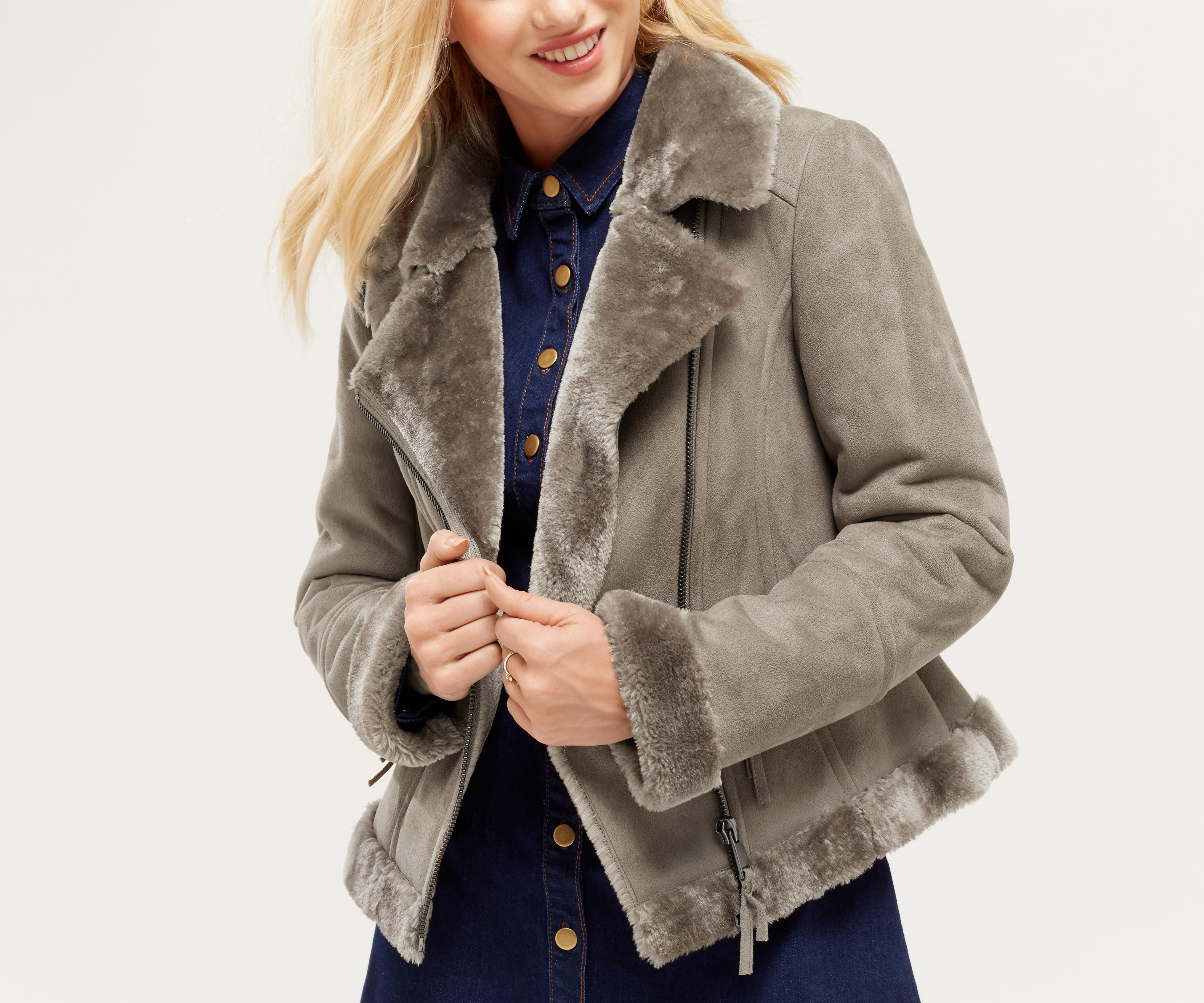677a914e19c1 Oasis Faux Shearling Jacket in Gray - Lyst