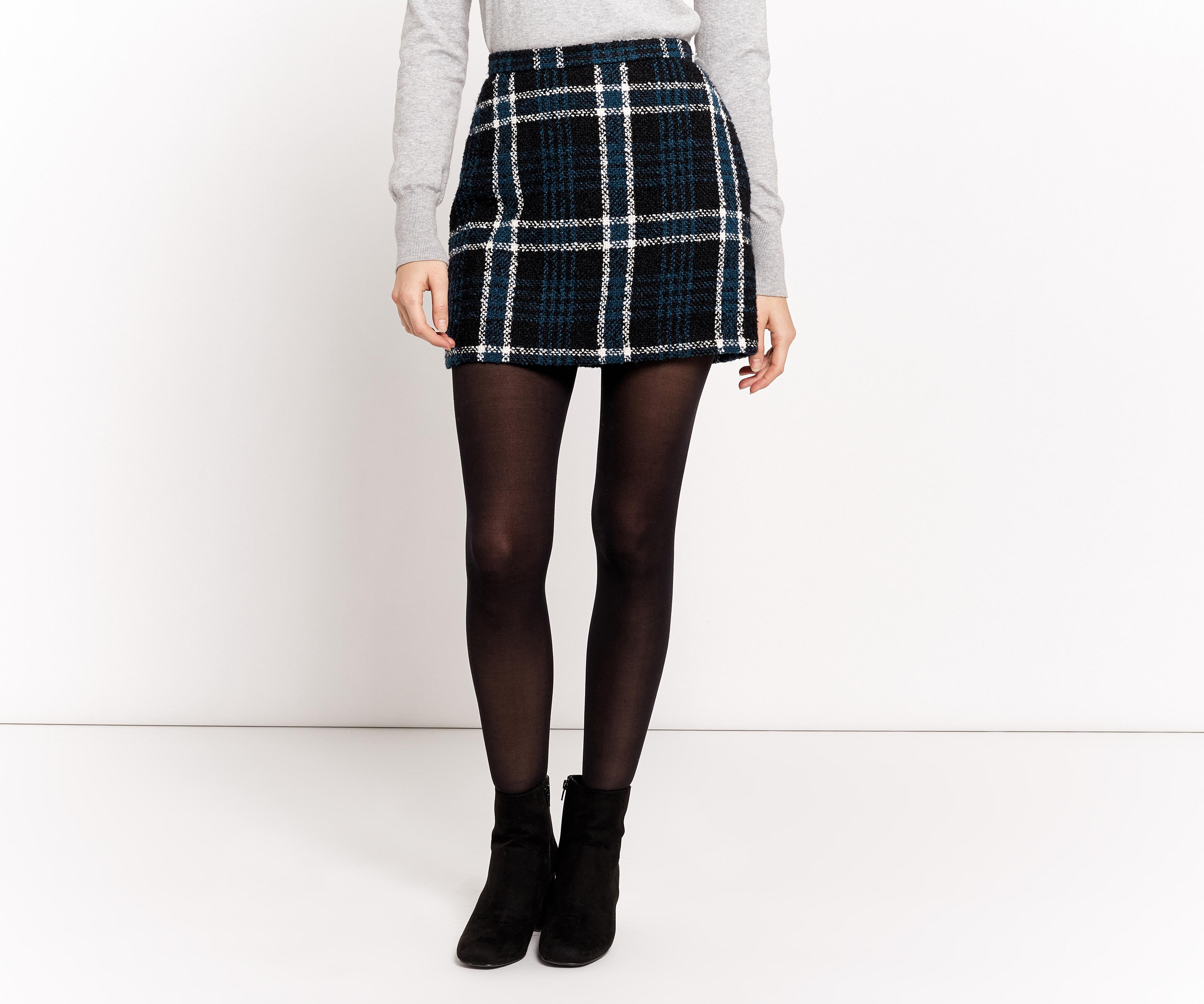 d082c338df75 Oasis Marley Boucle Check Mini Skirt in Black - Lyst