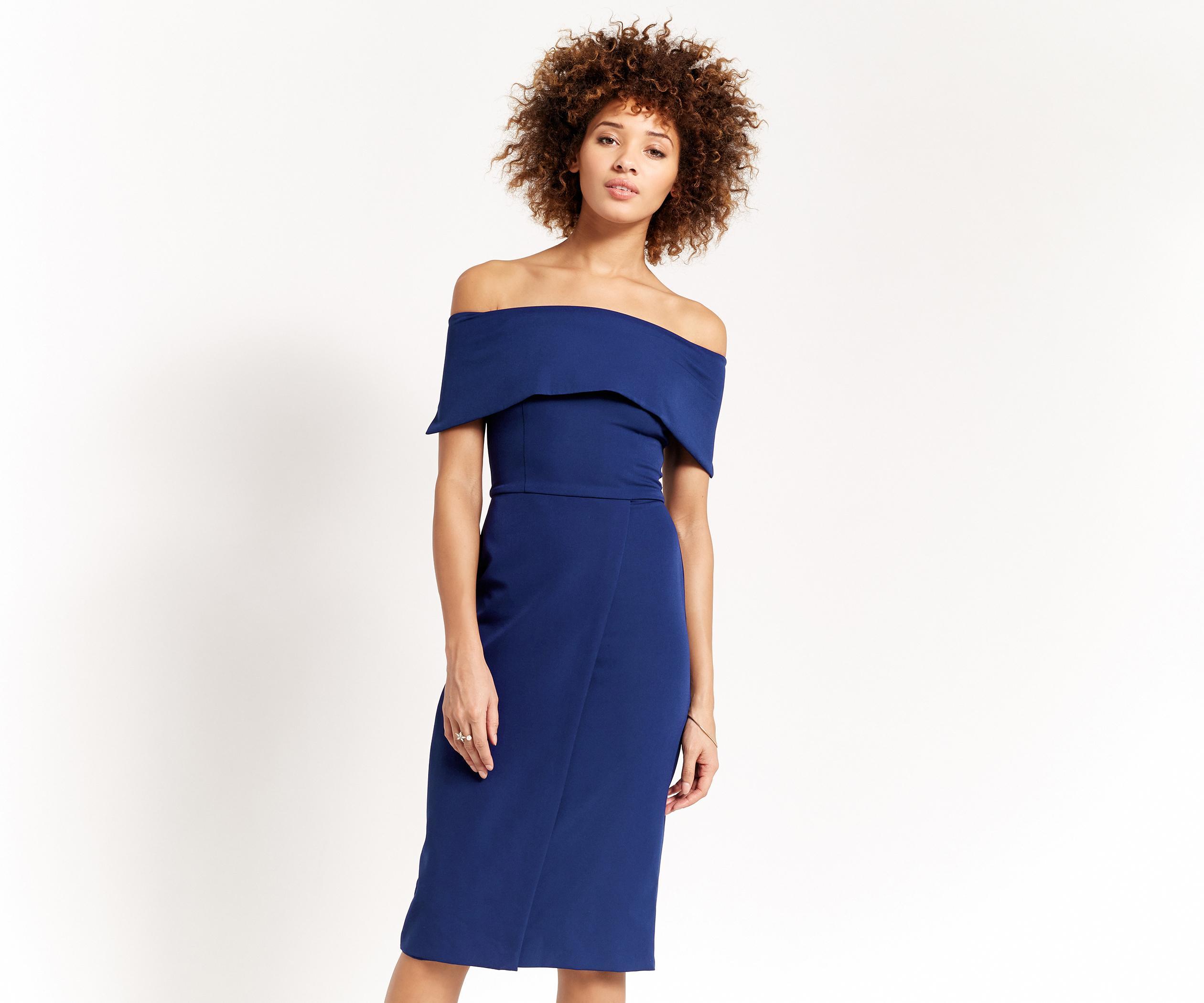 910afb3ef78e Oasis Bardot Pencil Dress in Blue - Lyst