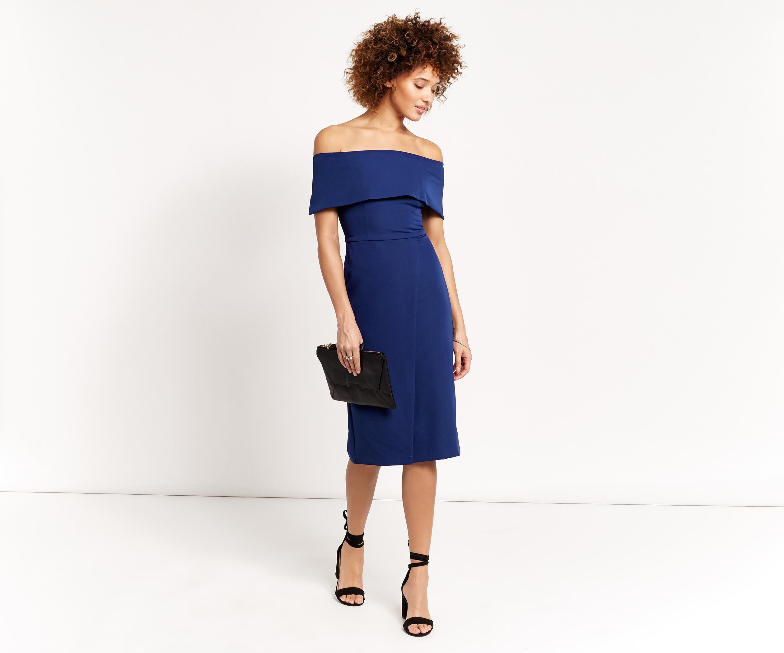 78b4d7342111 Oasis Bardot Pencil Dress in Blue - Lyst