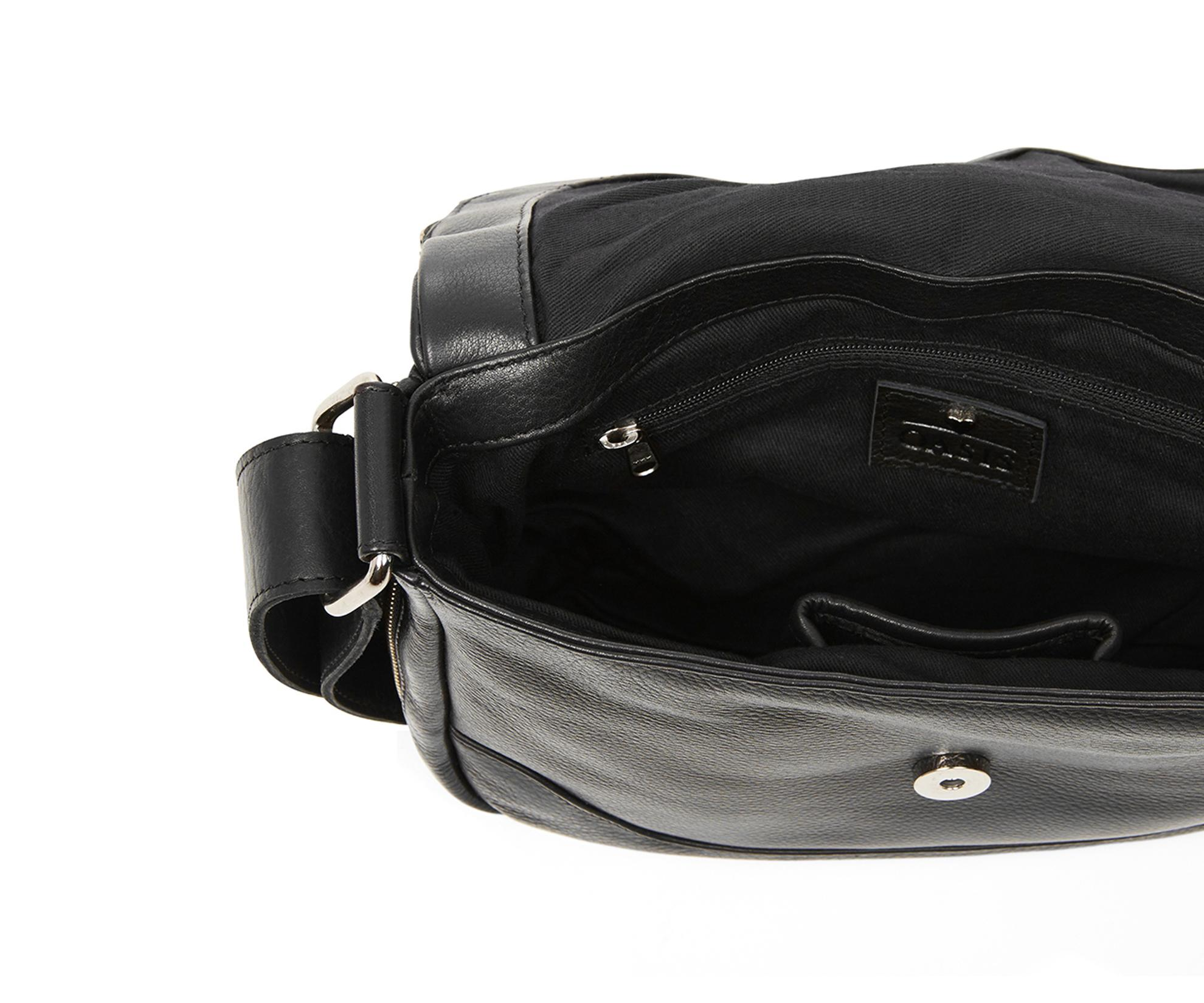 Black Cotton Laundry Bag: Oasis Lila Leather Bag In Black