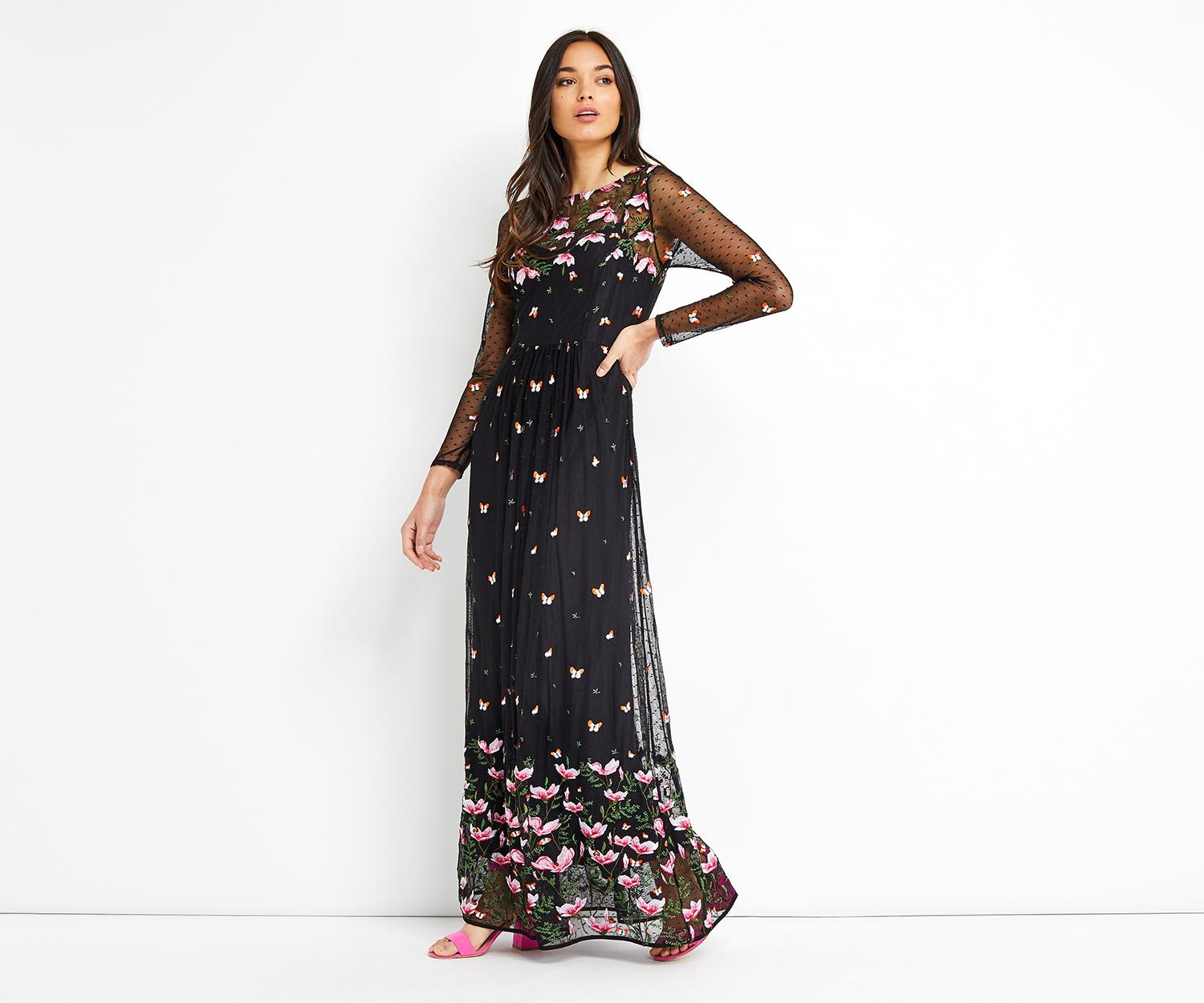 Oasis embroidered maxi dress in black lyst