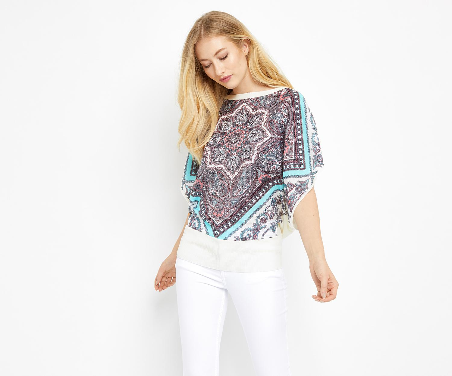 oasis scarf placement woven knit in white lyst