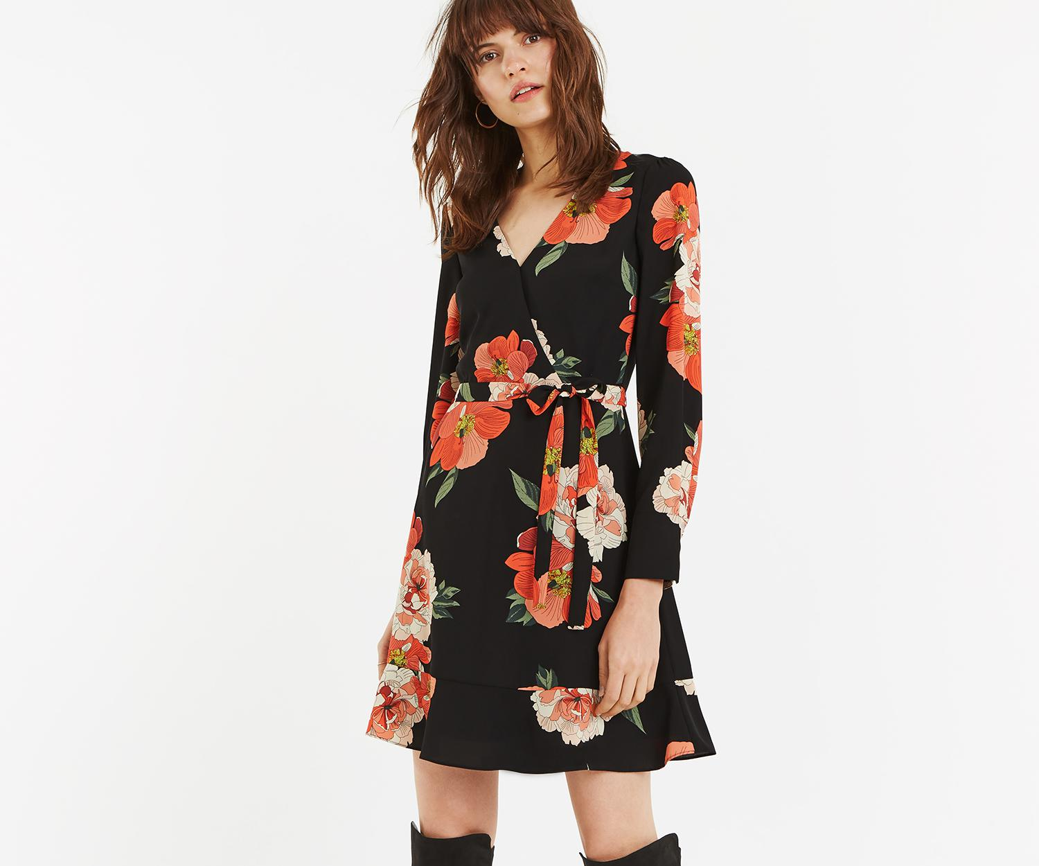 300bf936d53d Lyst - Oasis Bold Bloom Skater Dress in Black
