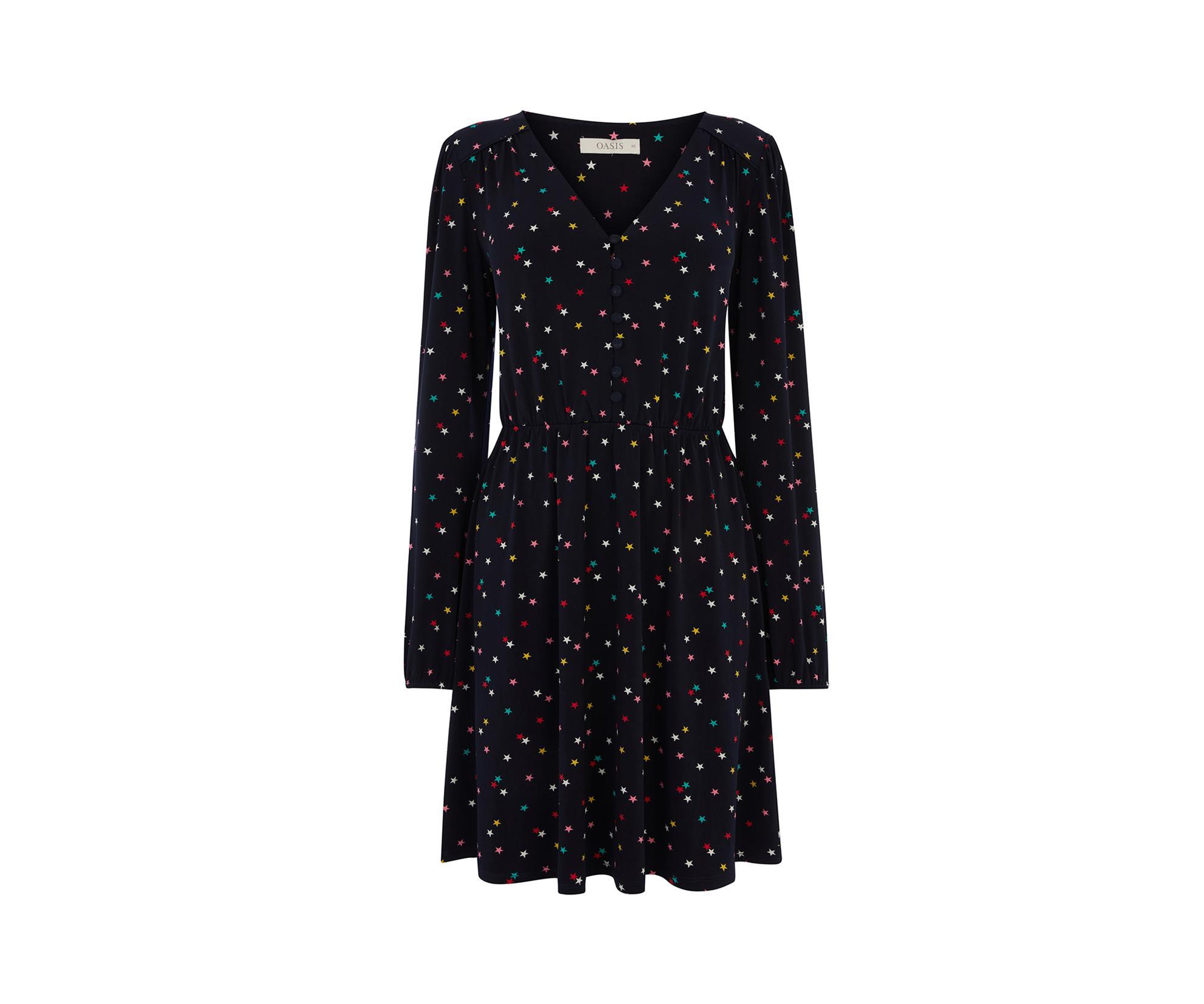 d2909b51d0 Oasis - Blue Star Button Skater Dress - Lyst. View fullscreen