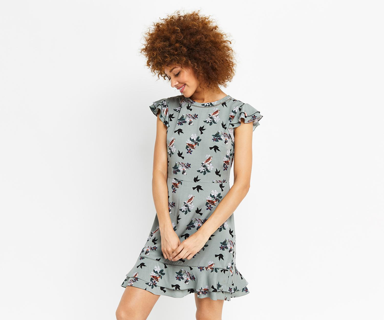 Lyst Oasis Bouquet Bird Ruffle Dress Tea FKT1Jl3uc