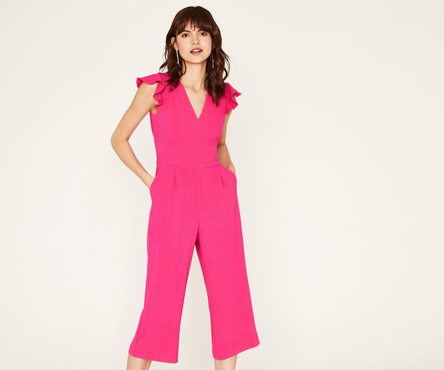 e60bb41ea432 Oasis Frill Sleeve Jumpsuit in Pink - Lyst