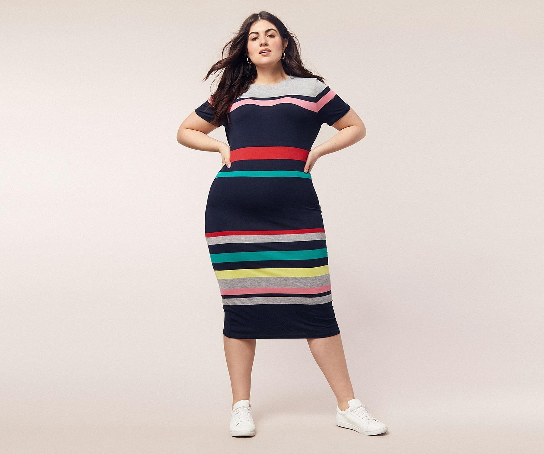 1c70b61480 Oasis - Blue Curve Stripe Tube Dress  - Lyst. View fullscreen